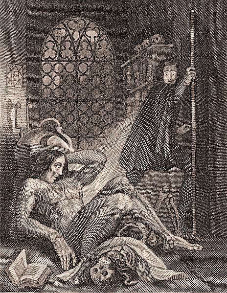"""""""Yah, Dave dropped out cuz he built a person.""""In the frontispiece of the 1831 edition of Mary Shelley's novel, """"19-year-old sin machine"""" Victor Frankenstein flees the scene of his monstrous act of creation.   Shelley, Mary.  Frankenstein  (London: Henry Colburn and Richard Bentley), 1831. Eaton Collection. From the holdings of Special Collections and University Archives, UCR Library, University of California, Riverside."""