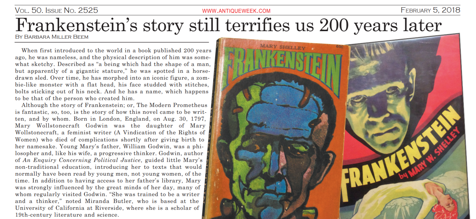 I was interviewed by Barbara Miller Beem for a special issue of Antique Week Magazine that featured Mary Shelley's Frankenstein and the Antiquarian Book fair. Click this image to read Beem's article as a PDF.