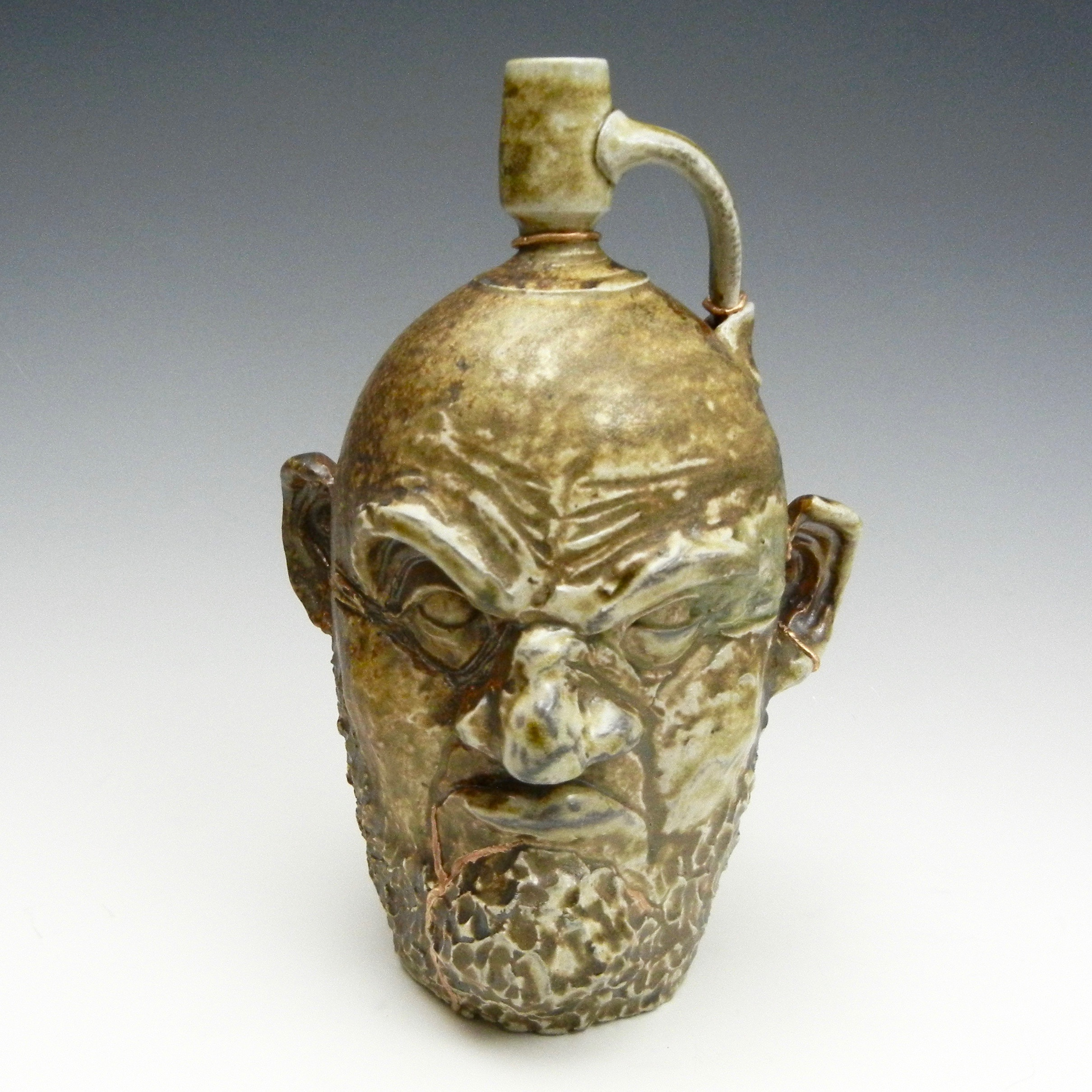 Lorenz Pottery, handmade, ceramics, pottery, folk pottery, wood fired, soda fired, jug, face jug, ugly jug