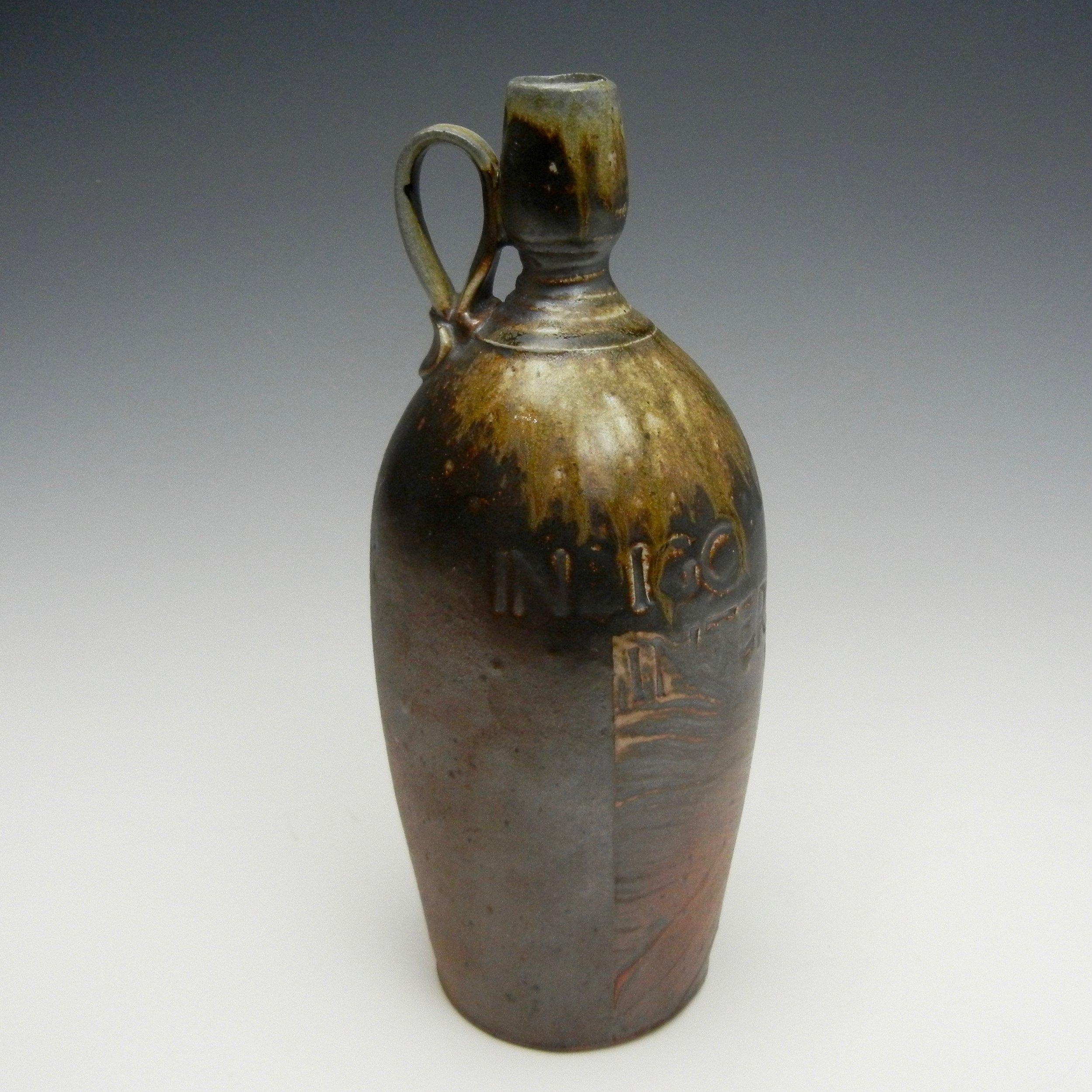Lorenz Pottery, handmade, ceramics, pottery, folk pottery, wood fired, soda fired, jug, bottle