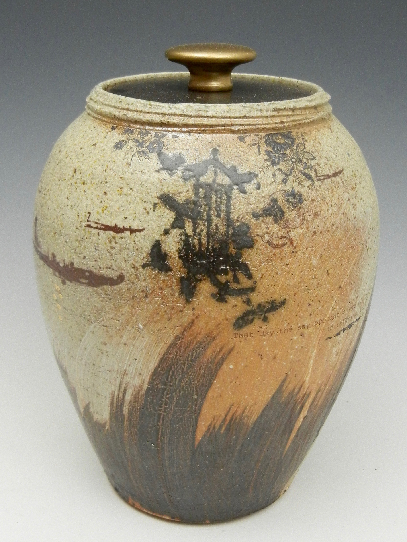 Lorenz Pottery, handmade, ceramics, pottery, folk pottery, wood fired, soda fired, lidded, jar