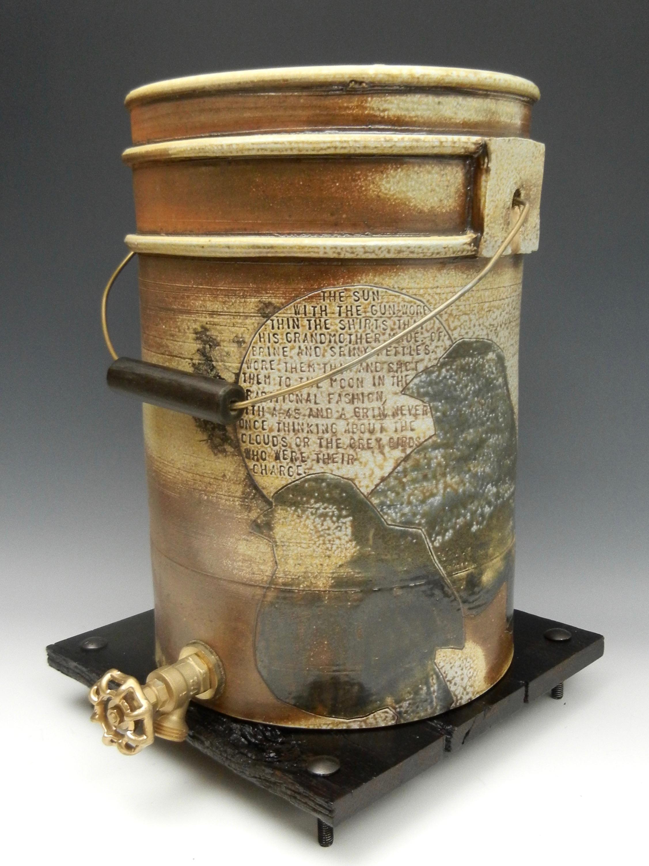 Lorenz Pottery, handmade, ceramics, pottery, folk pottery, wood fired, soda fired, bucket, water cooler