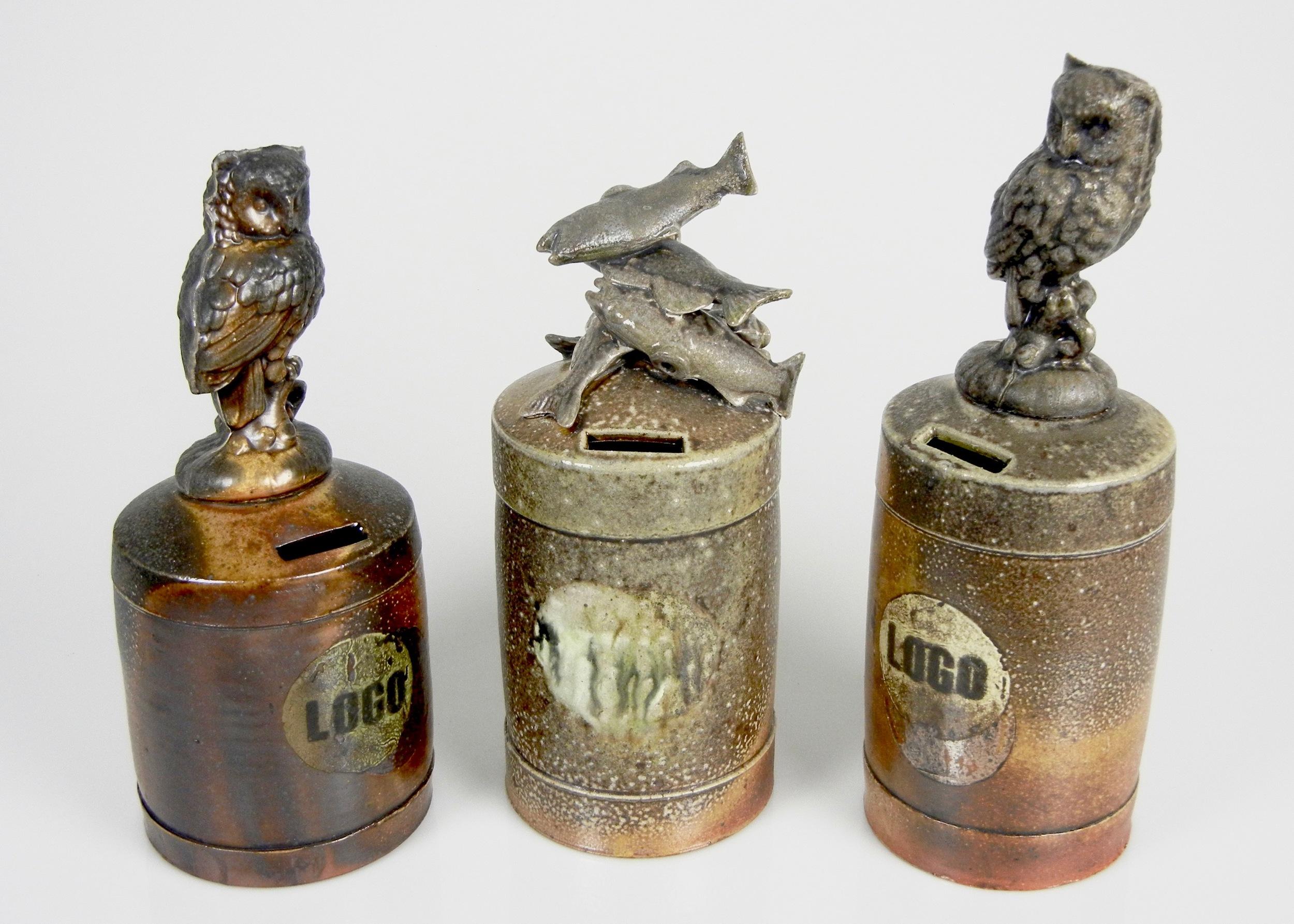 Lorenz Pottery, ceramics, pottery, folk pottery, wood fired, soda fired, bank, money jar