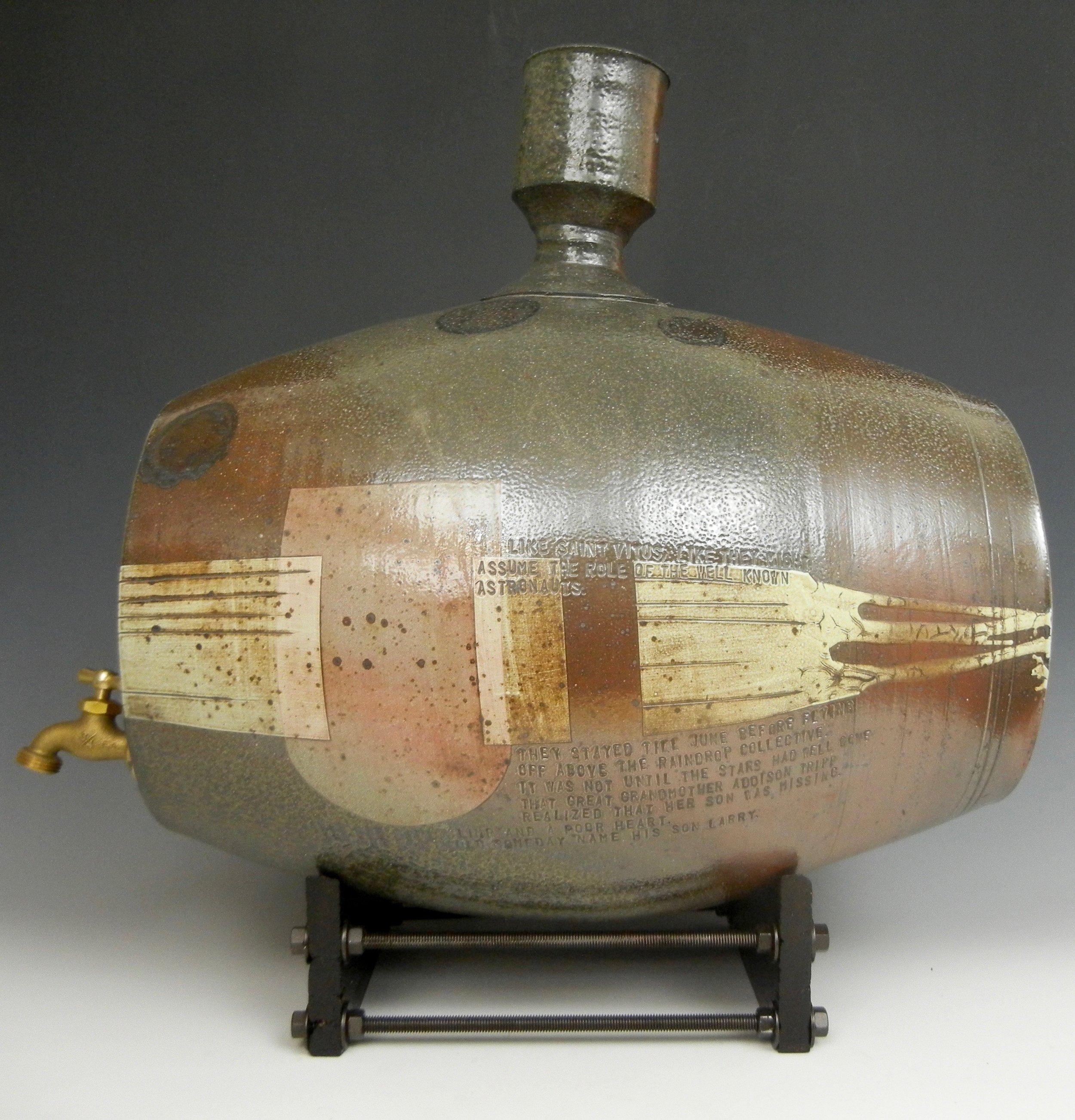 Lorenz Pottery, wood fired, soda fired, folk pottery, water barrel