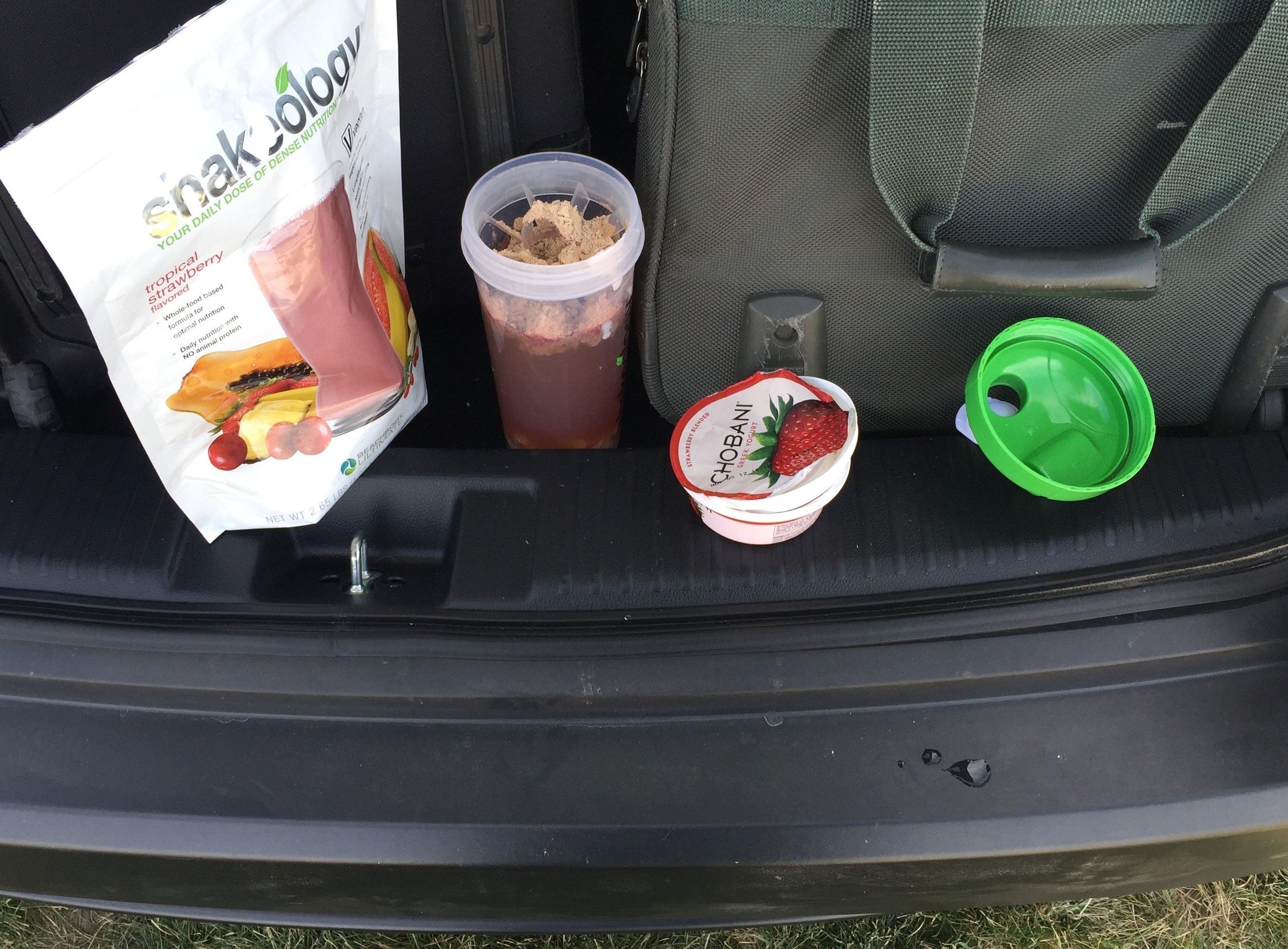 Here is a snack I made in the back of my car when traveling, with yogurt from a hotel breakfast! LOL, you heard right... a hotel complimentary breakfast at that!! I also use these shakes most days as a breakfast replacement because I am not big on breakfast but in this shakes I put fruits and even veggies with my super nutritious shake powder