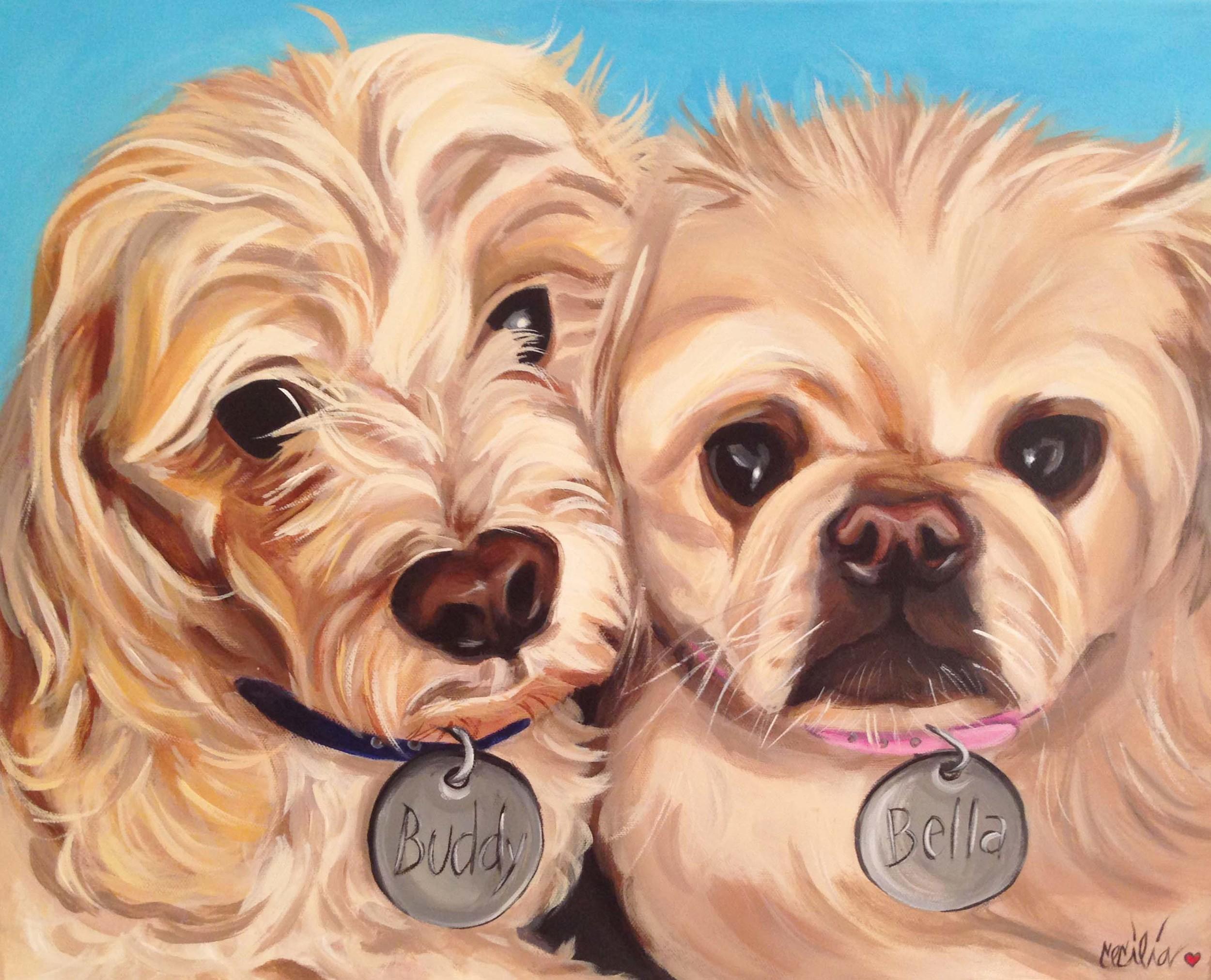 Buddy -cockerspaniel/poodle Bella-pomeranian - 16x20