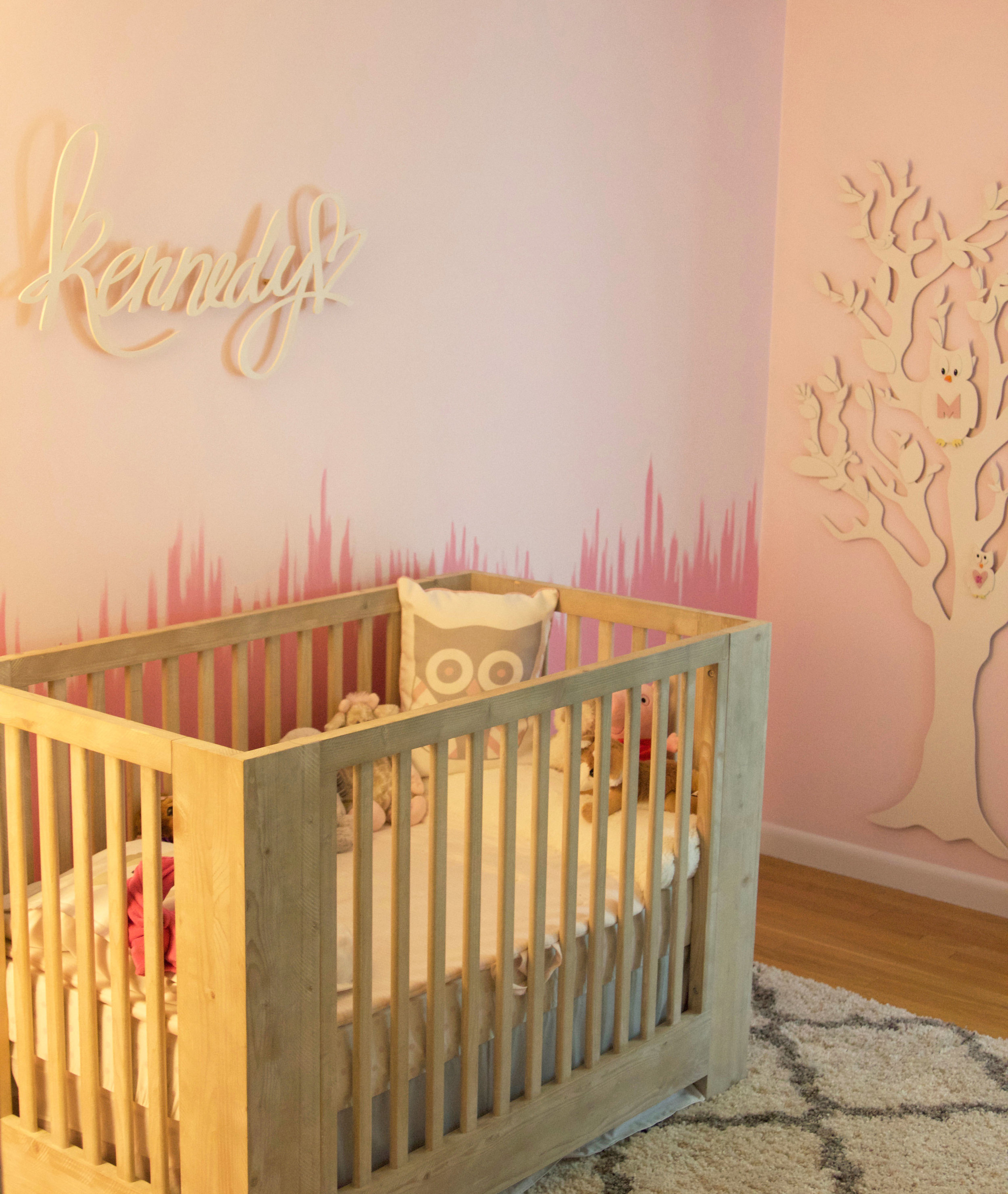 Kennedy's Pink Accent wall for her BIG GIRL room
