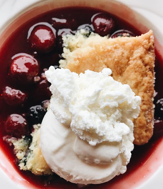 Last chance to enjoy our specialty O Canada dessert tonight until 9PM! • • • Mixed Berry Cobbler