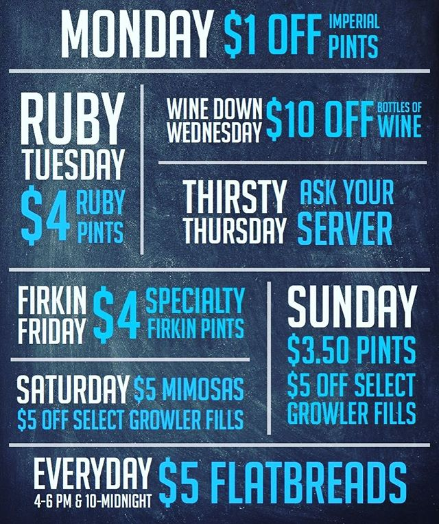 Check it out—we've got daily drink specials! #drinklocal #supportyourlocalbrewery