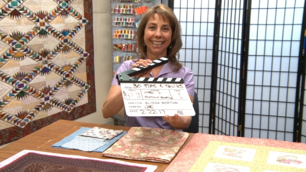 Our client, Cindy Seitz-Krug, on set in Denver filming her course, 30 Tips & Tricks for Better Machine Quilting