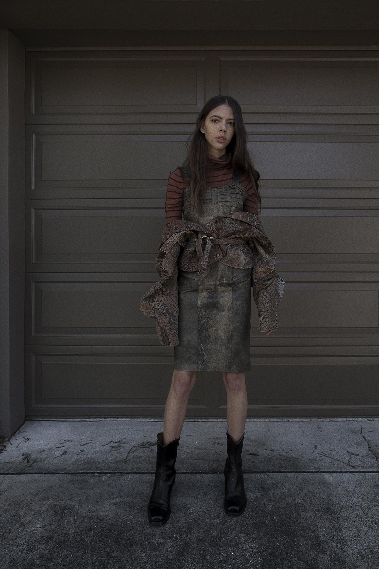 turtle neck dress  emporio armani   leather dress  vintage   leather jack et vintage   boots  vintage