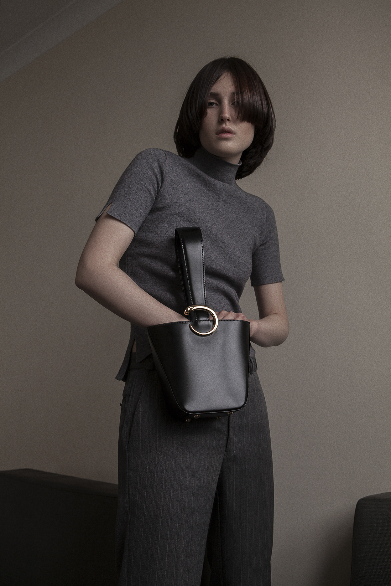 turtleneck  model's own  suit pant  vintage YSL  bag  cartier