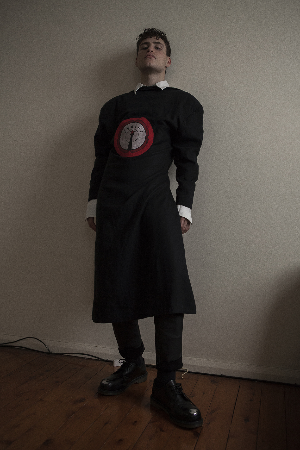 shirt  miu miu  coat  jean paul gaultier  pant  acne studios  shoes  raf simmmons for doc martens
