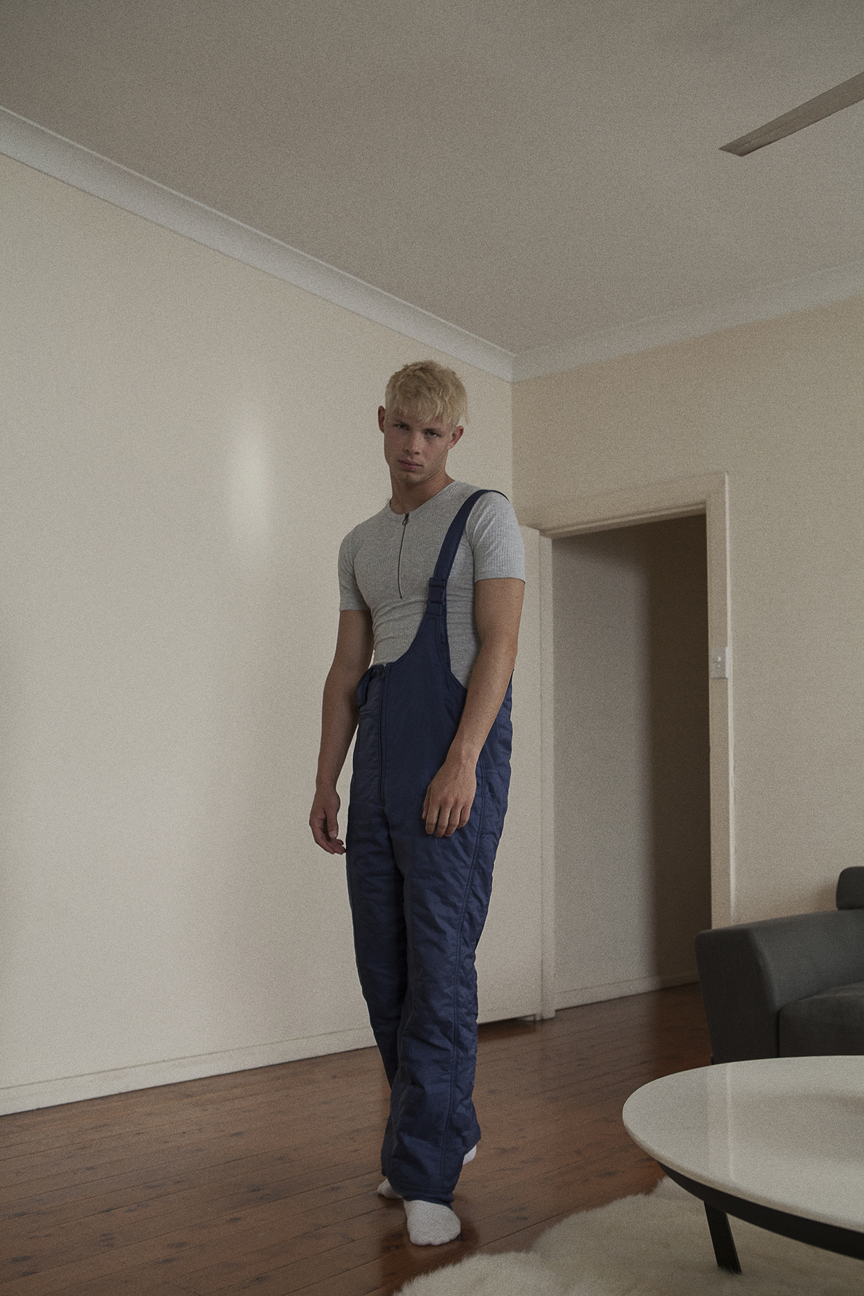 grey ribbed tee  stylists own  blue overalls  vintage zoo emporium