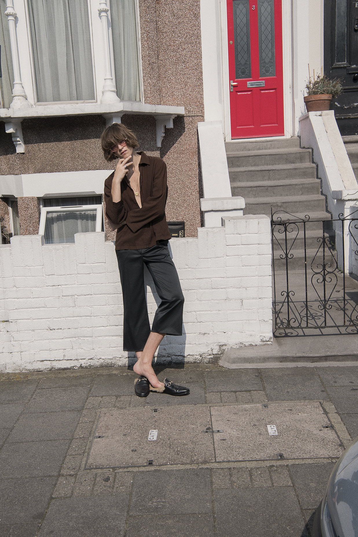 shirt + trousers  vintage  loafers  gucci