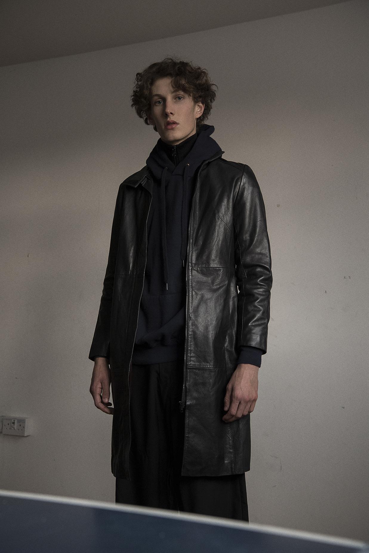 zip jacket worn underneath  armani exchange  hoodie  american apparel  coat  emporio armani  trousers  nicomede talavera