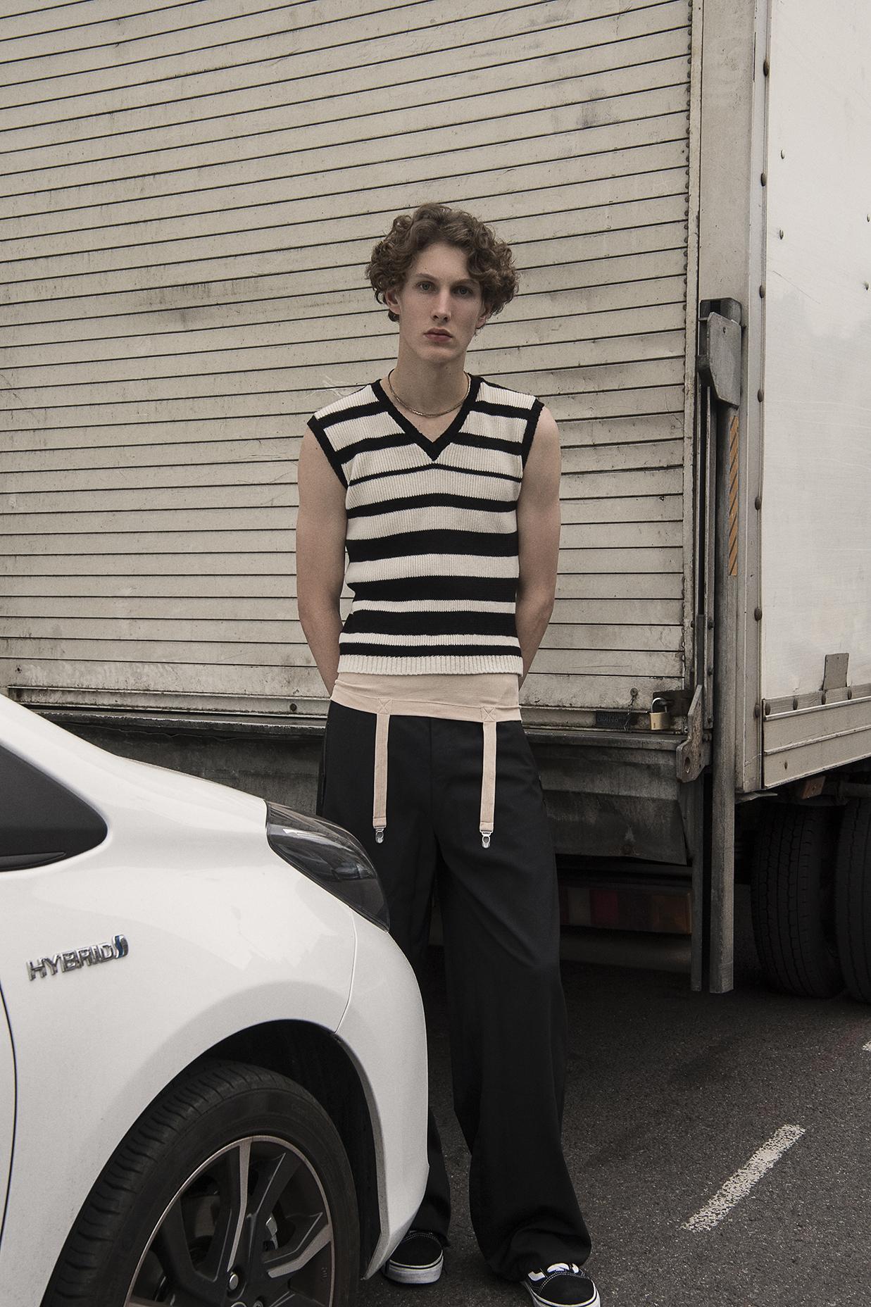 tank top  marieyat  knit vest  beyond retro  trousers  nicomede talavera  shoes  vans