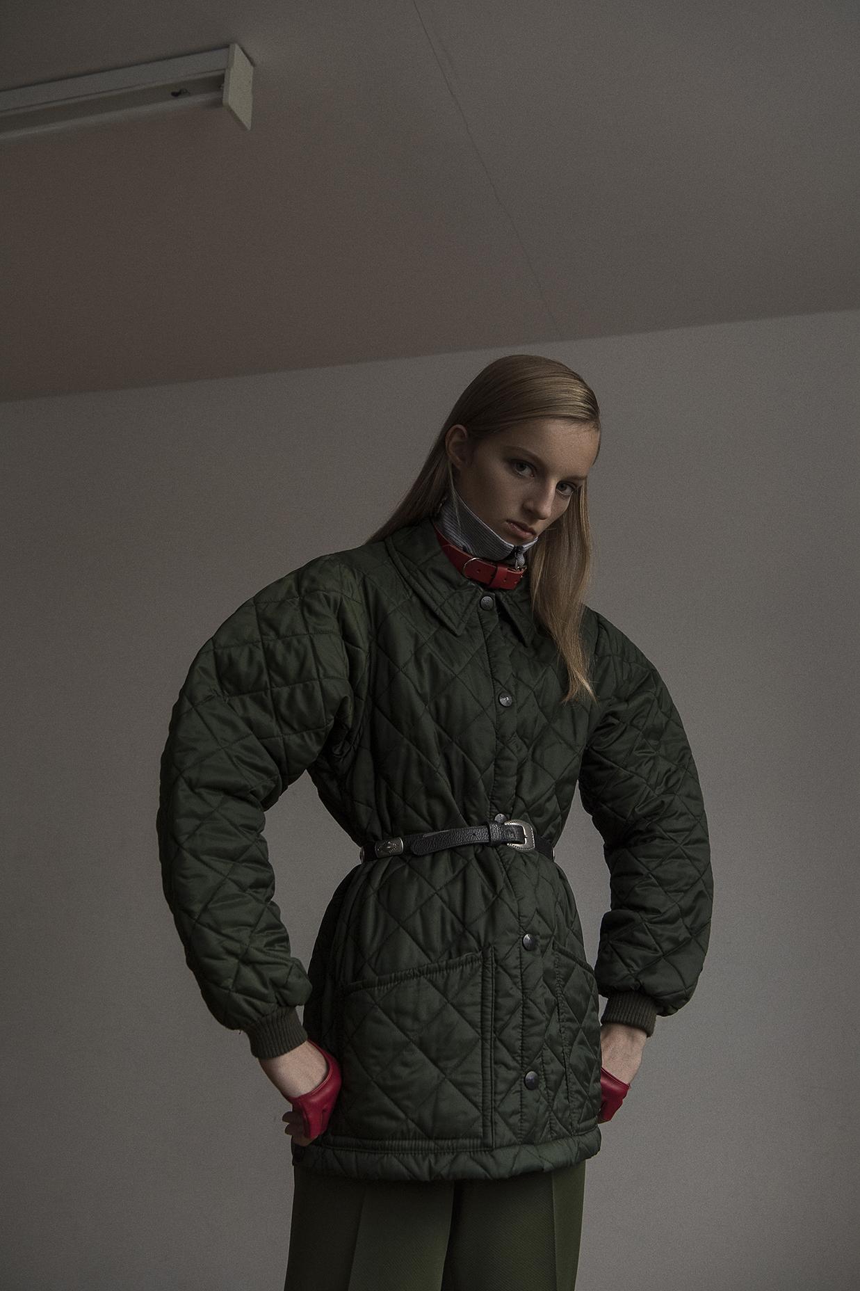 green jacket + pant  the market cartel  stripe top  mint vintage  choker  stylist own