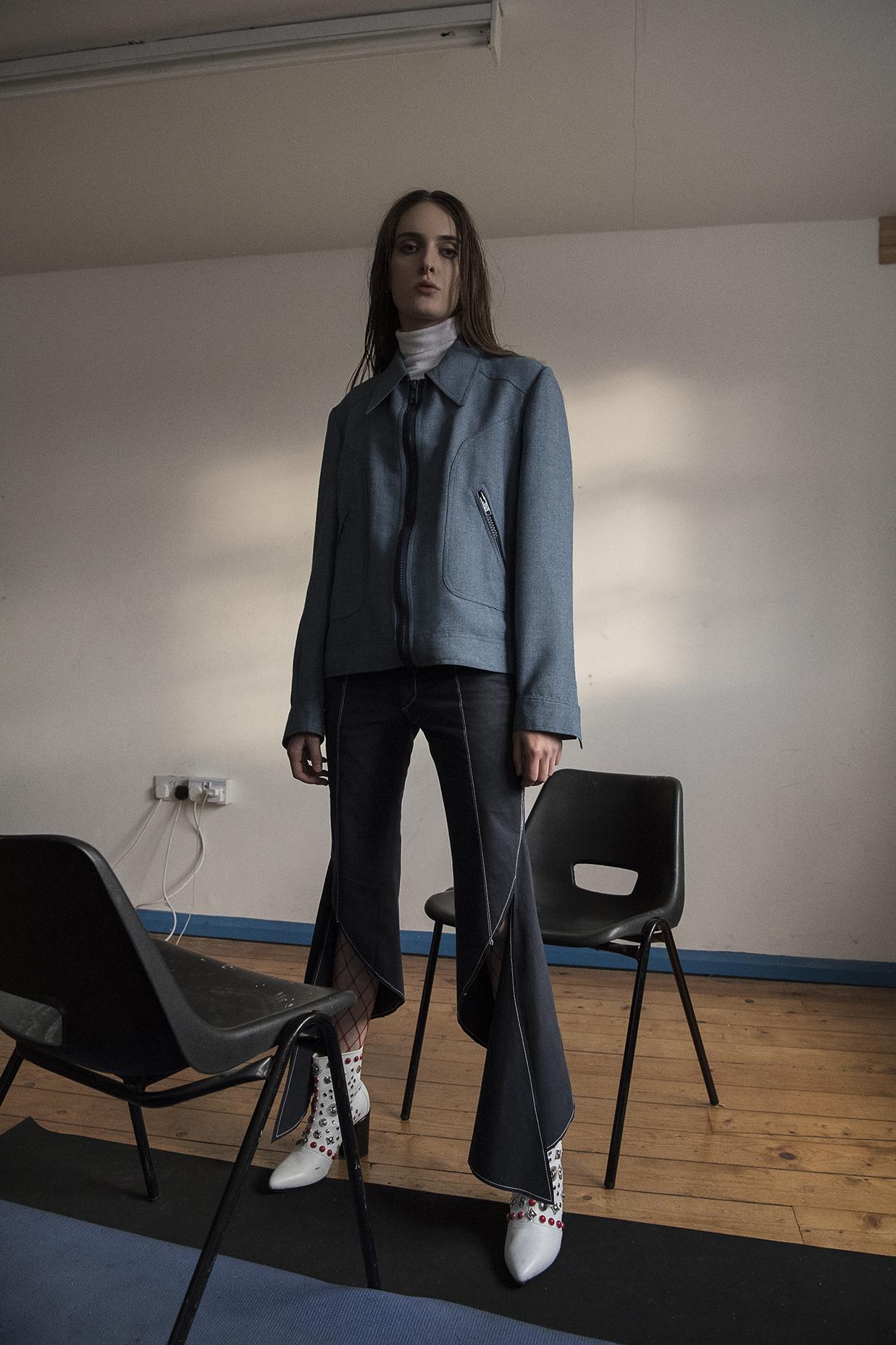 denim jacket  the market cartel  turtleneck  vintage  trousers  JH zane  boots  toga pulla
