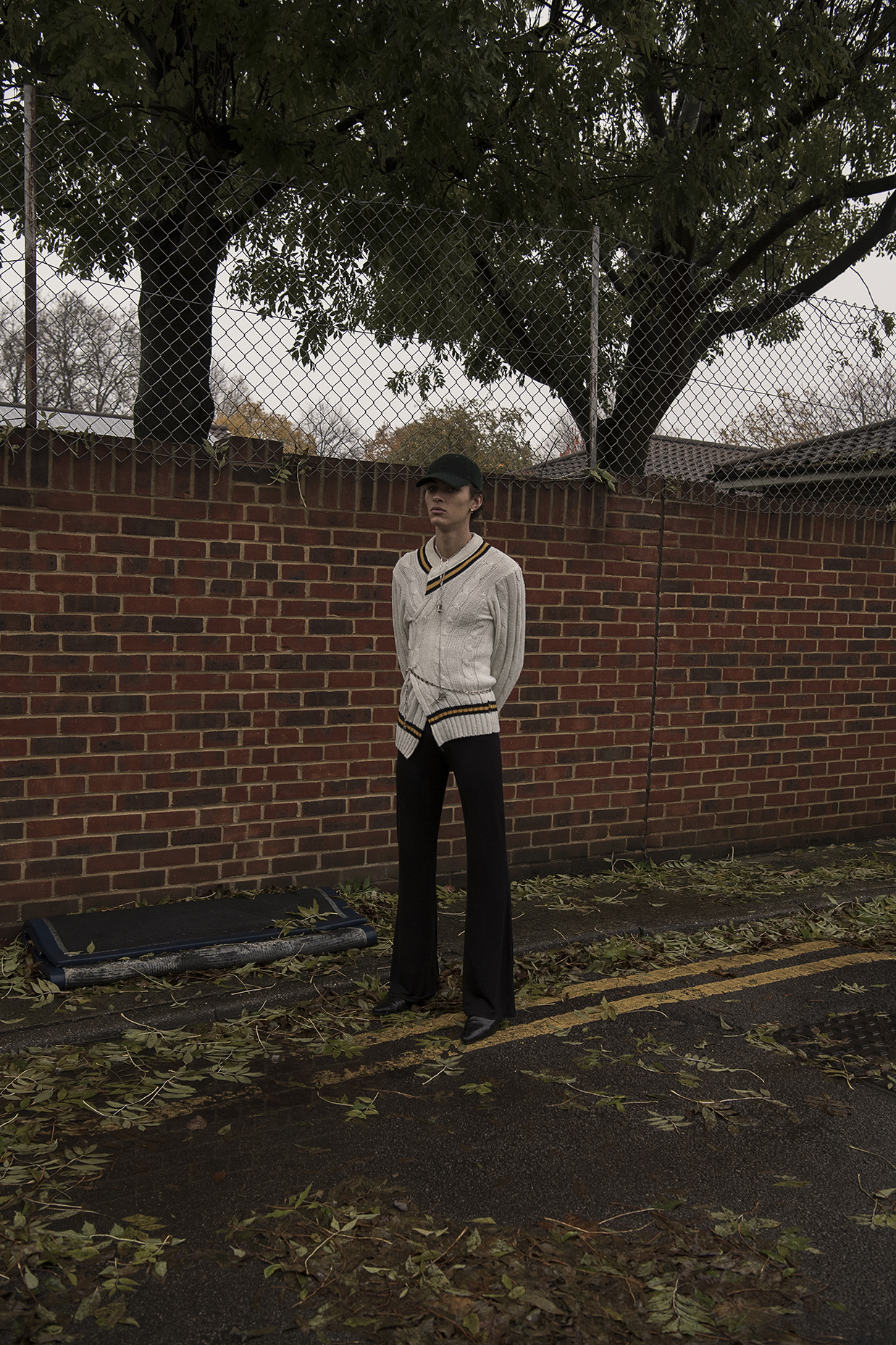 hat  model's own  jumper  stylist's own  chain  bruno magli  trousers  dior homme  boots  model's own