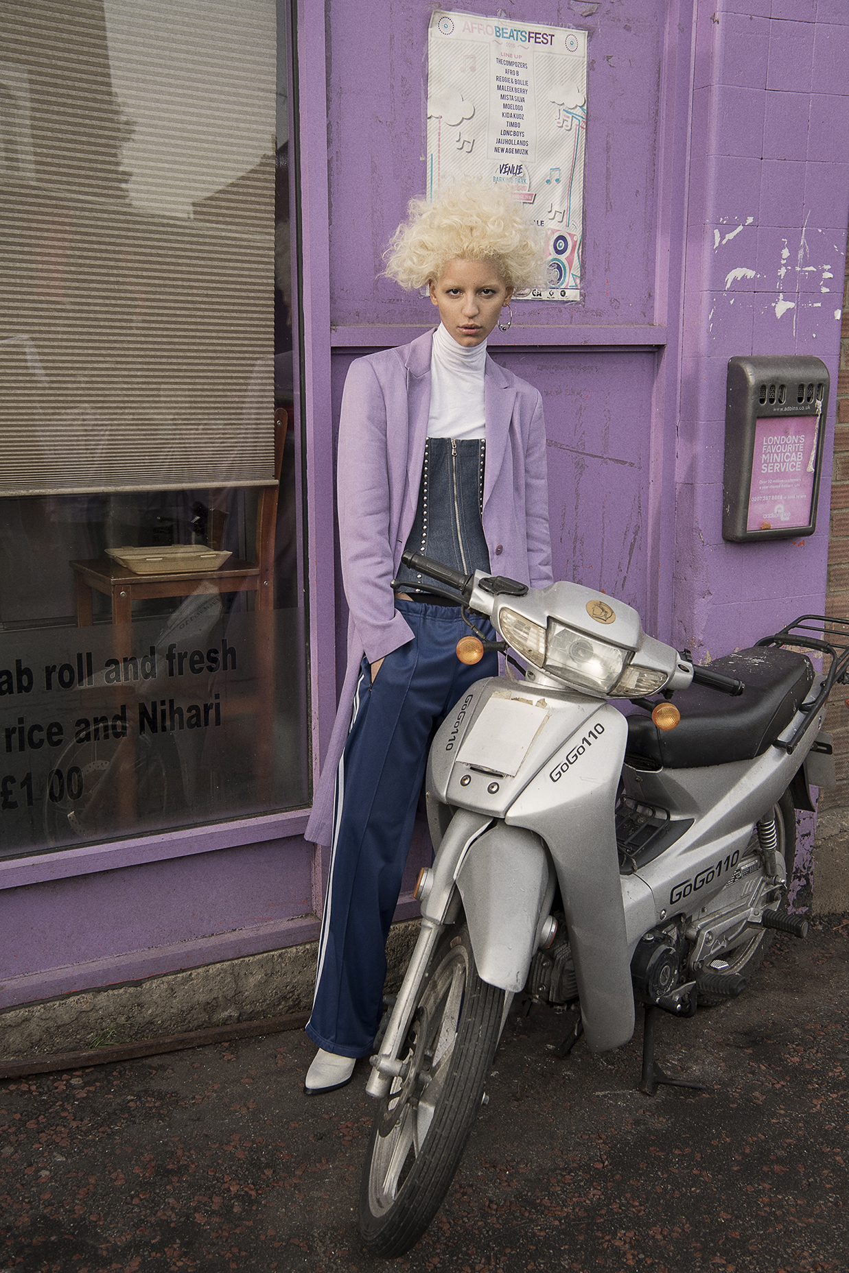 purple jacket  freckle london  corset top  dolce and gabbana  earrings  justine clenquet  shoes  robert wun