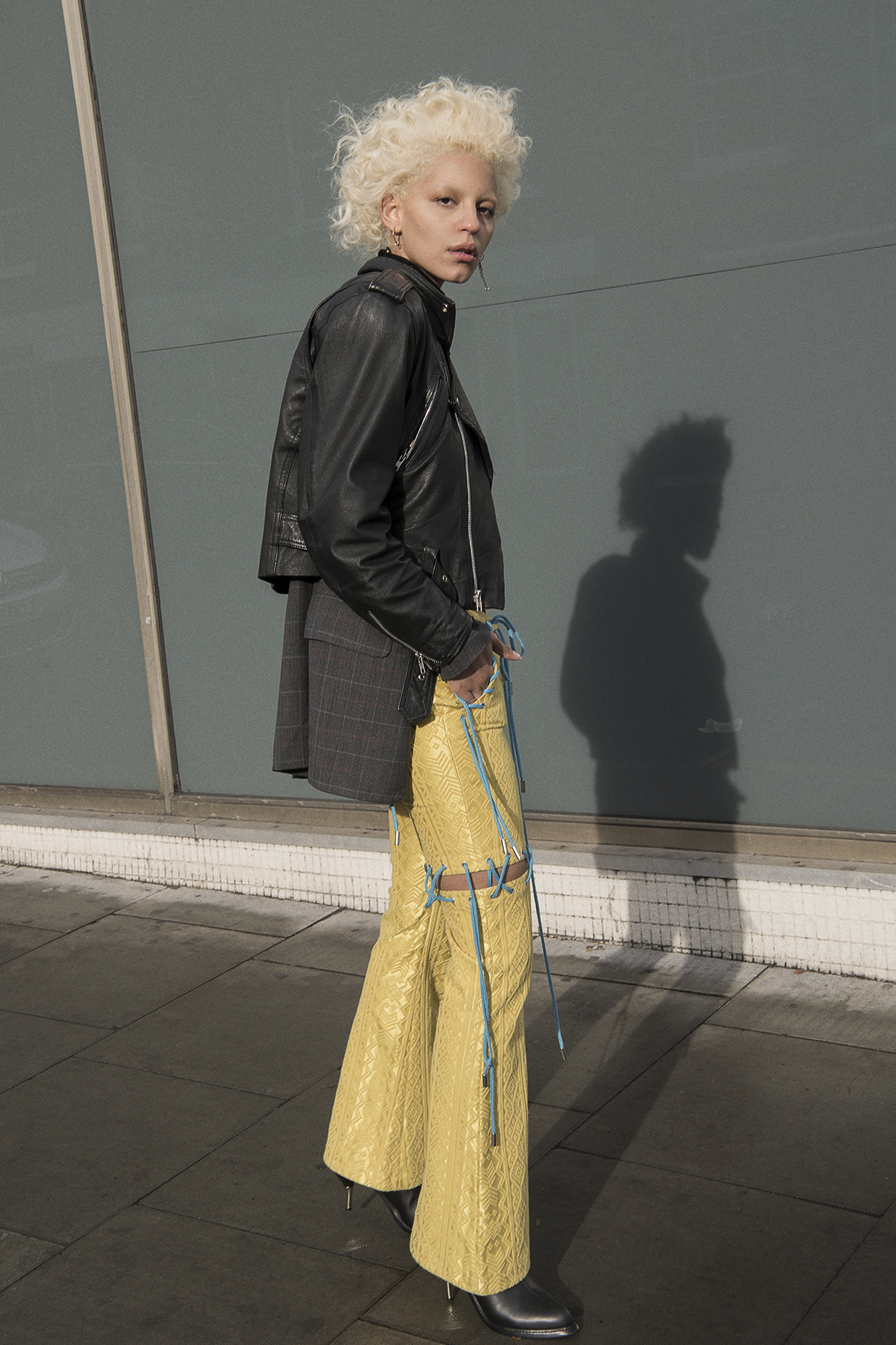 leather jacket  model's own  check jacket  vintage  trousers  angel chen  shoes  robert wun  earrings + choker  justine clenquet