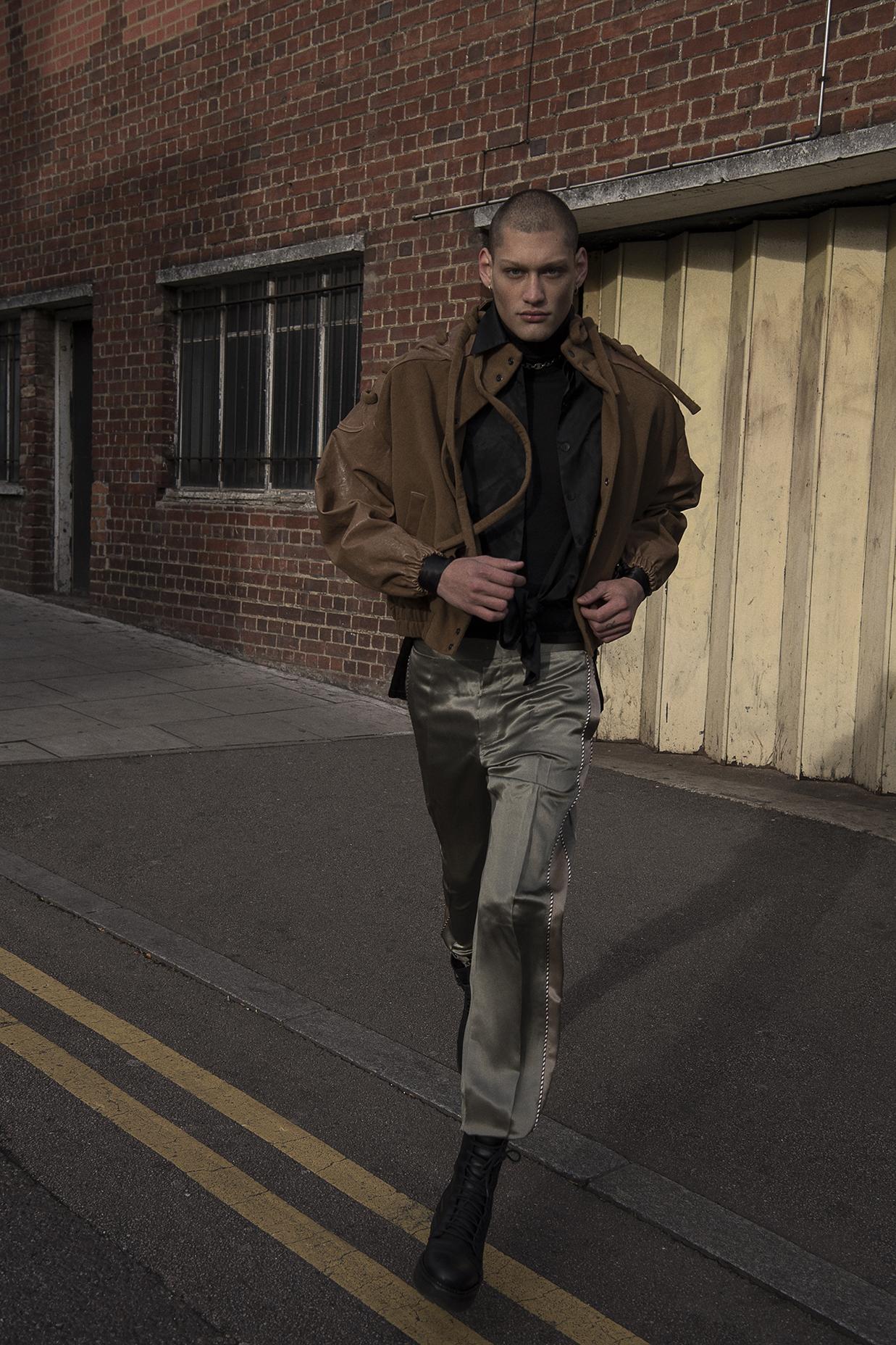 rollneck  jil sander  shirt  stylist's own  jacket  priya ahluwalia  trousers  louis vuitton shoes model's own