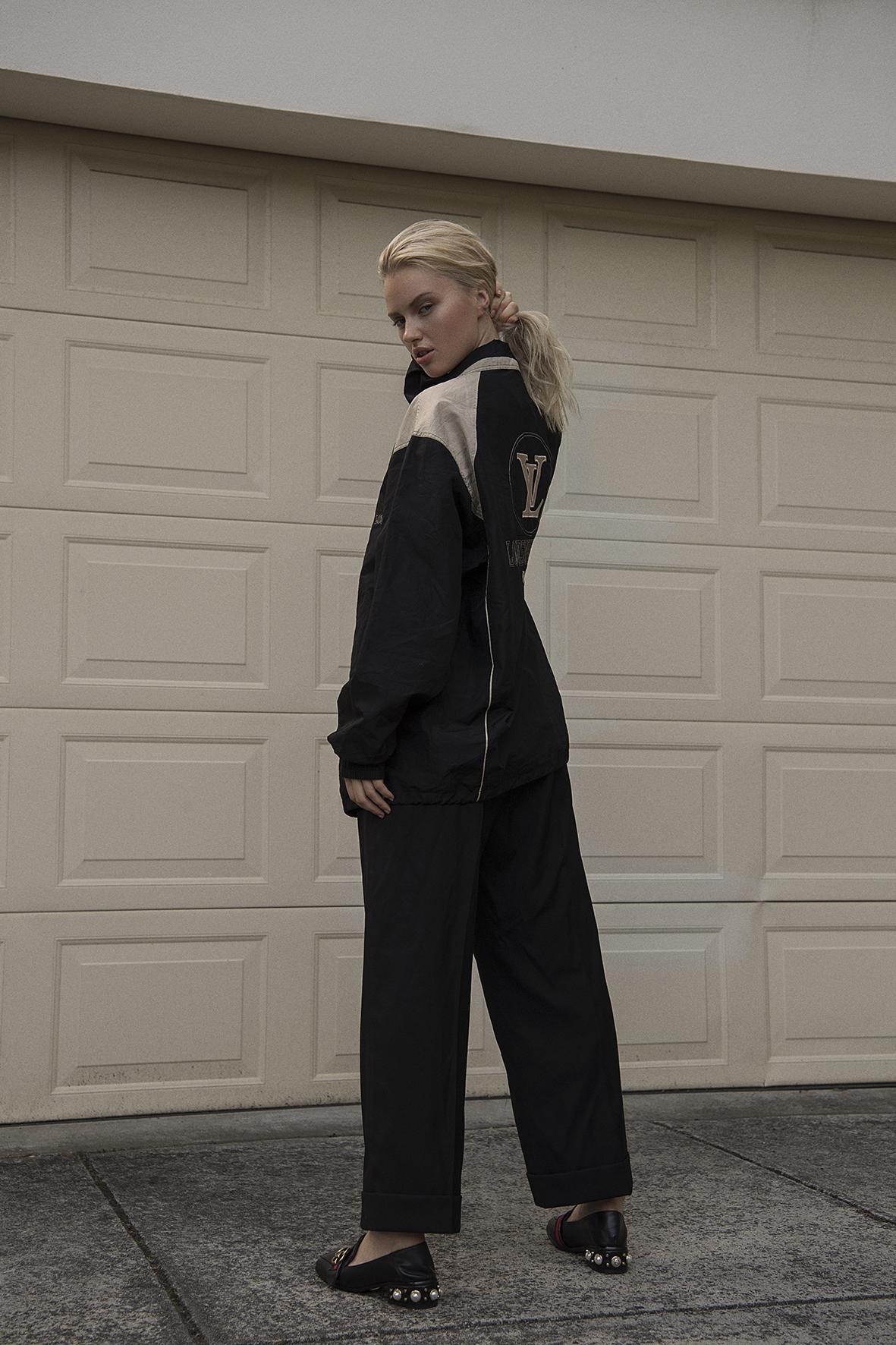 90's vintage jacket  louis vuitton  pant  maison margiela  loafers  gucci