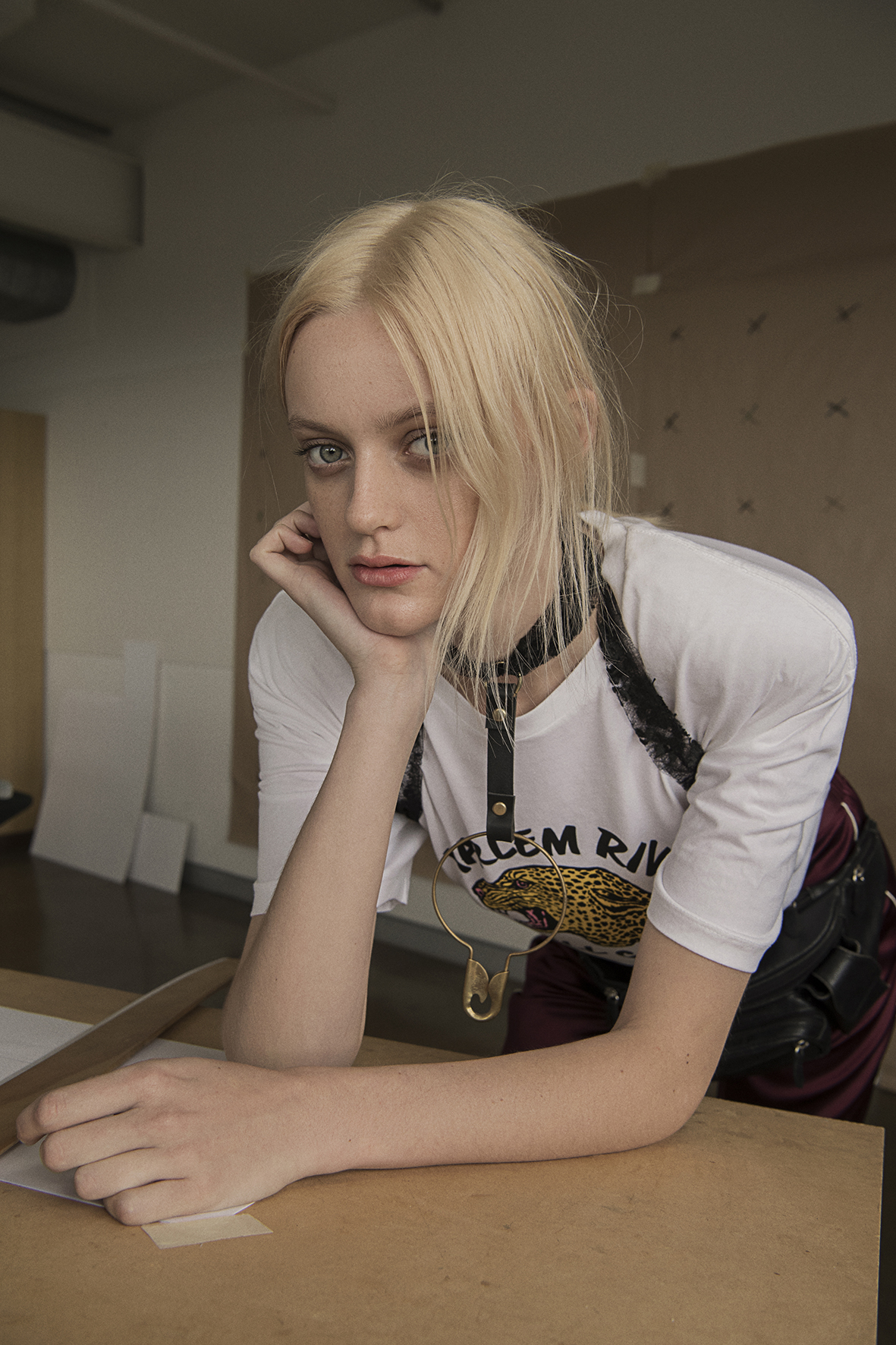 t-shirt from route 66 store  satin pants  trenery  leather choker  serpent and the swan  vintage  bum bag