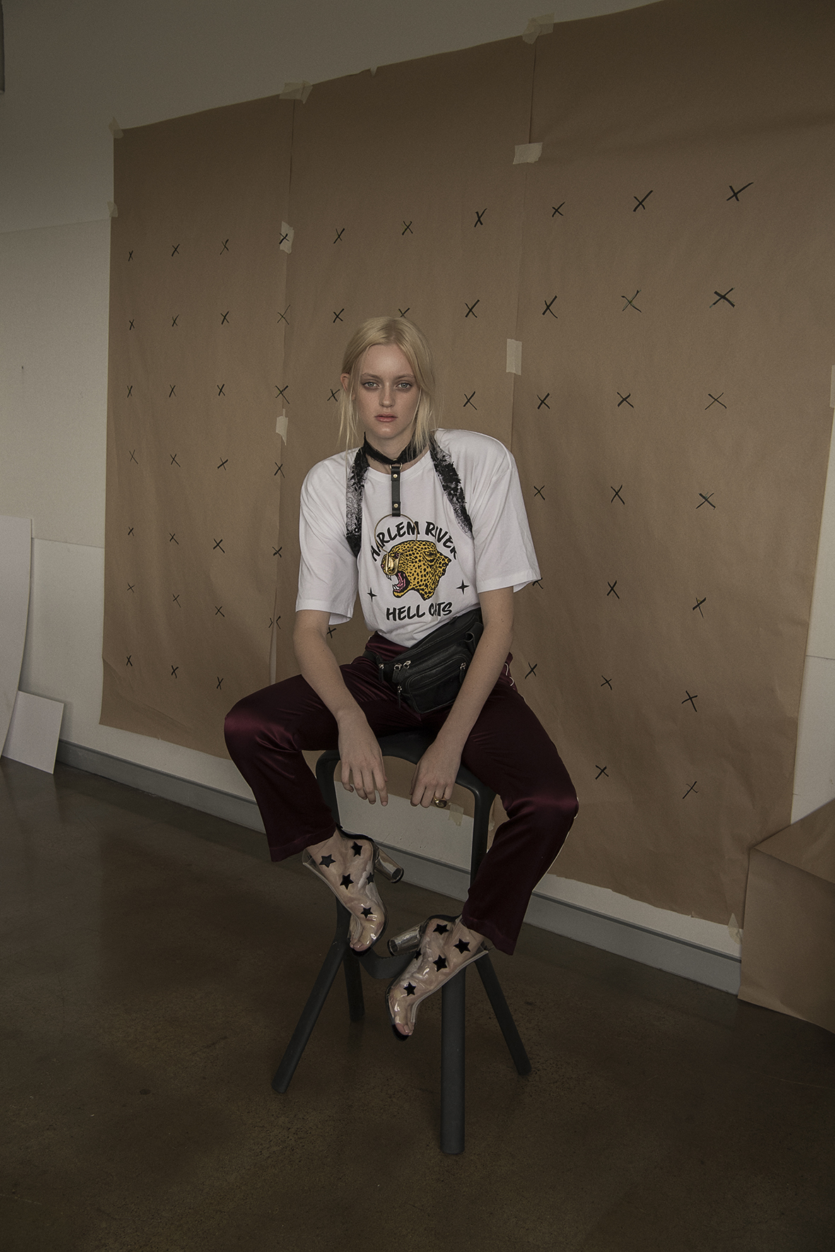 t-shirt from route 66 store  satin pants  trenery  leather choker  serpent and the swan  vintage  bum bag  shoes  boohoo