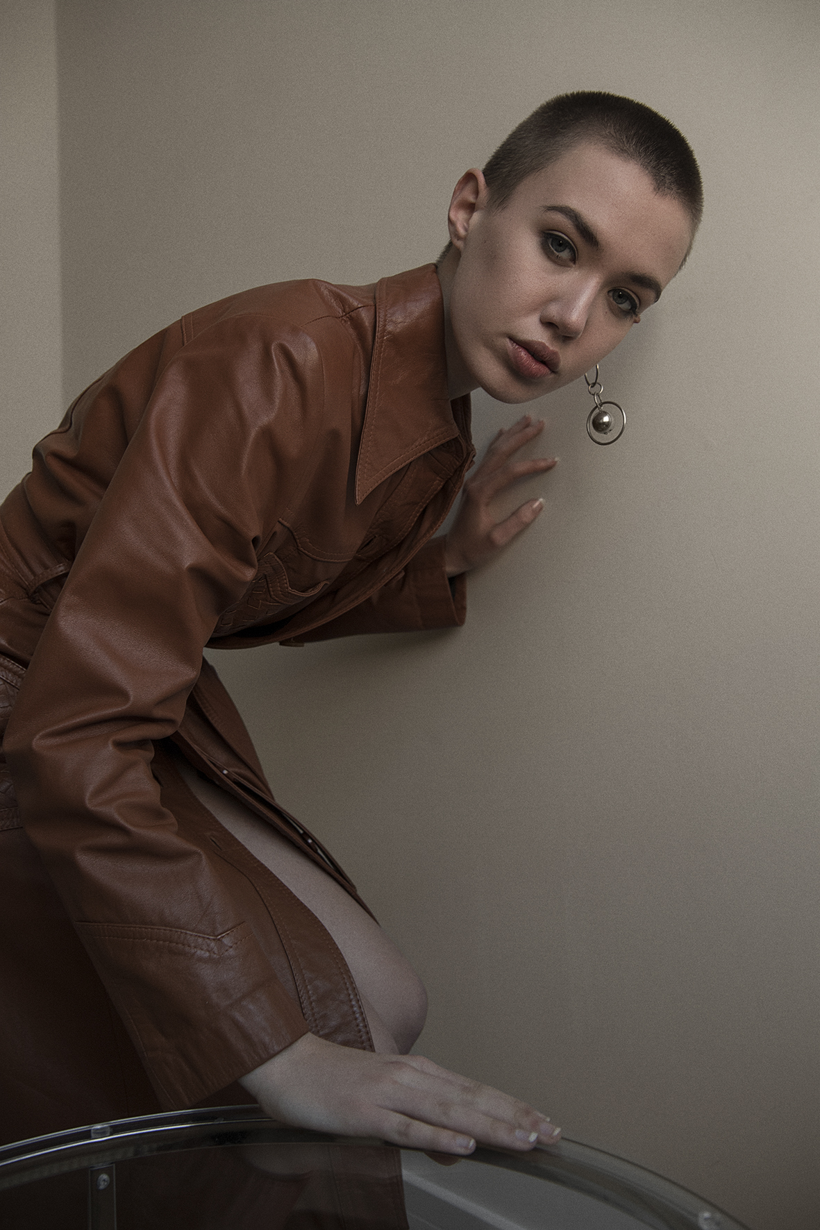 leather coat  vintage the market cartel  earring  stylists own