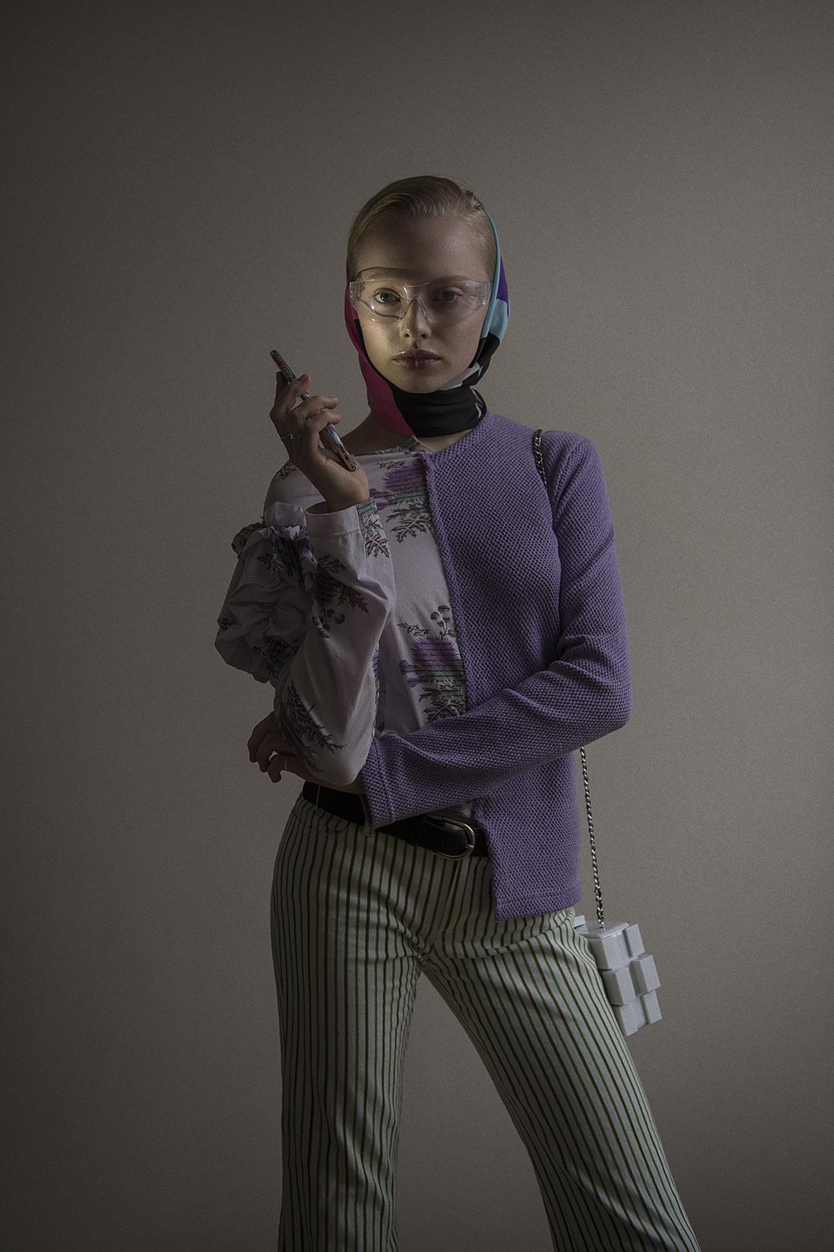 top  comme des garçons  trousers + scarf  vintage  bag  chanel  sunglasses  stylist's own