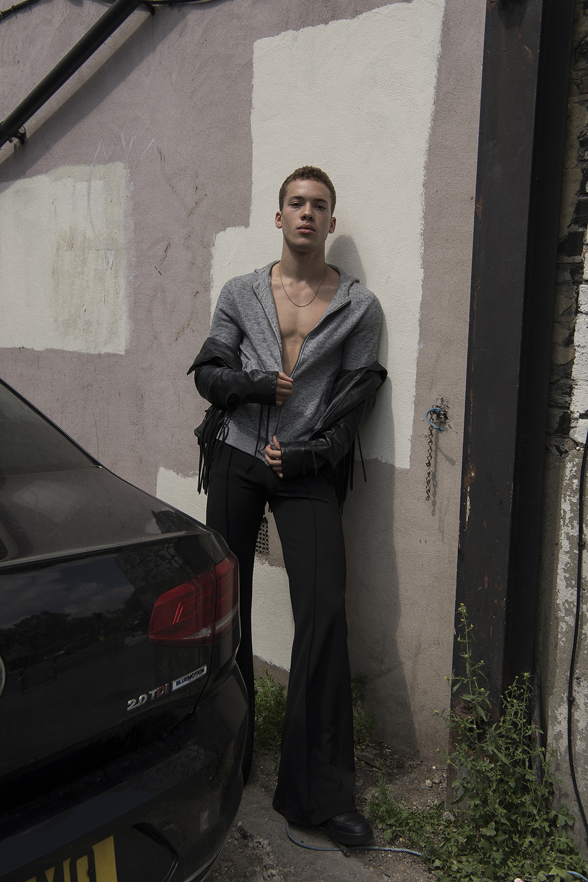 jacket  kenzo  leather jacket  stylist's own  pant  aaizél  trainers  nike