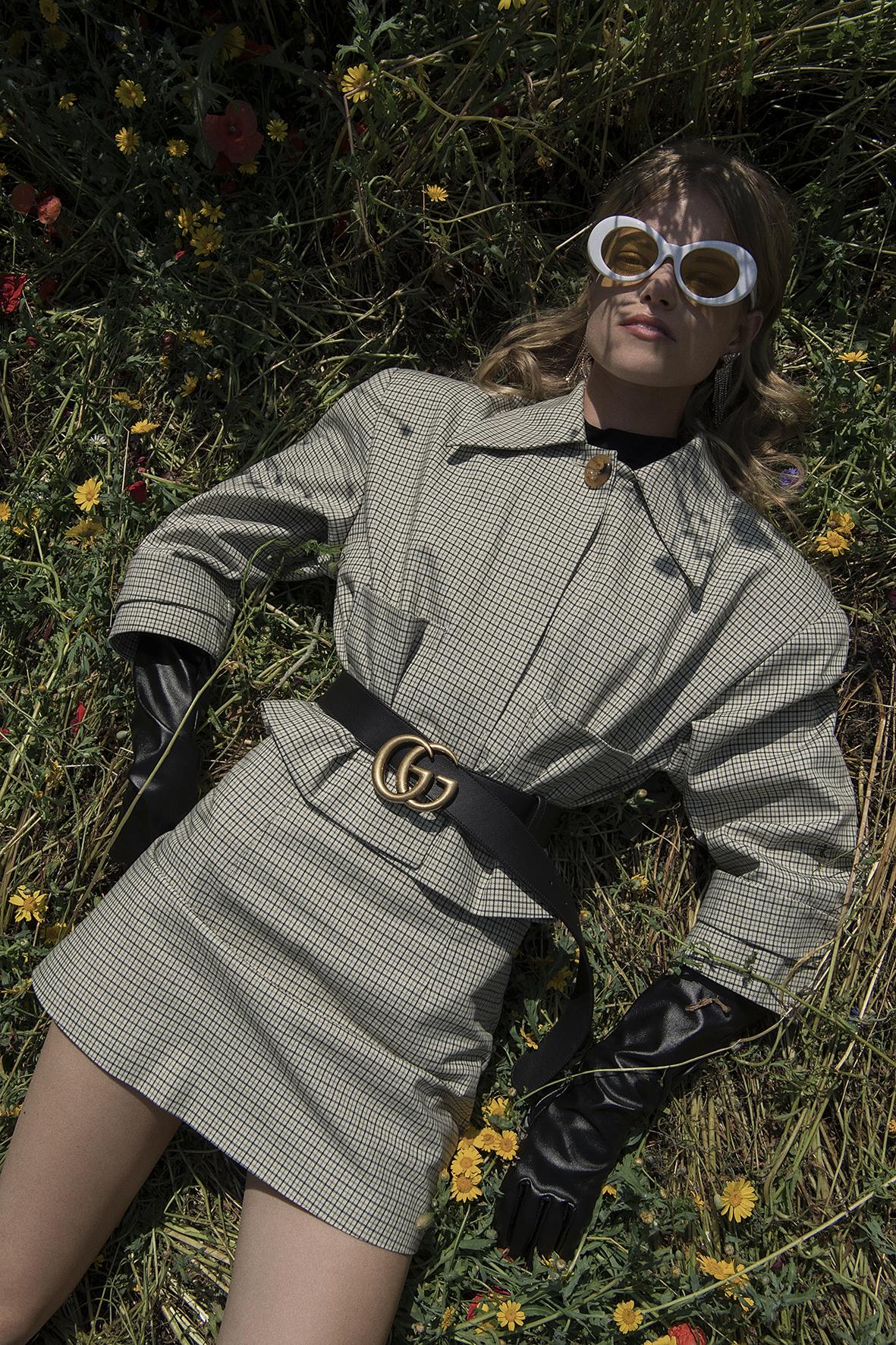 suit  freckle made  belt  gucci  boots   + gloves  vintage  glasses  acne