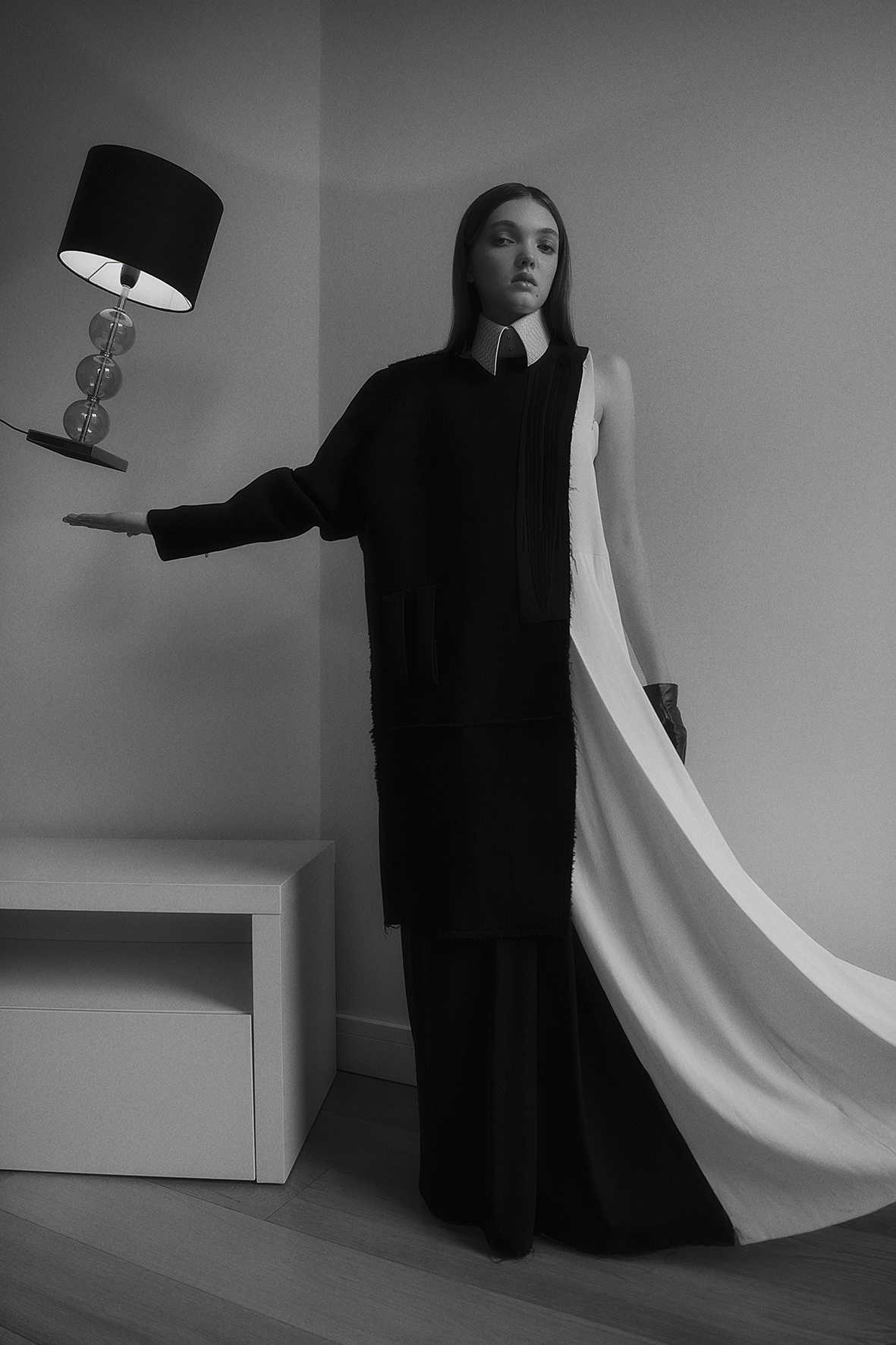 dress + coat  omer asim  croc collar  aaizél  gloves  stylist's own