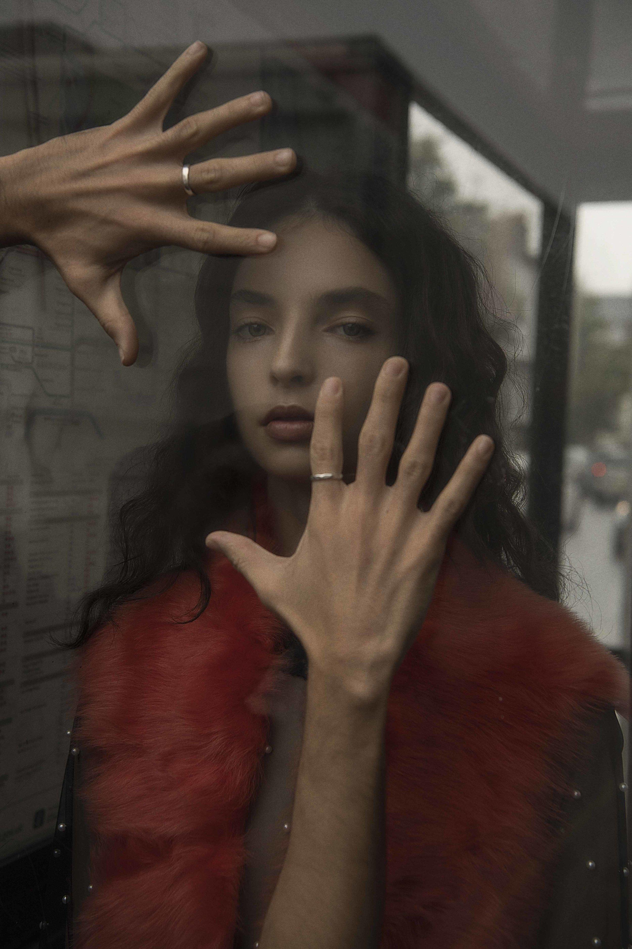 dress + faux fur scarf  joanne hynes