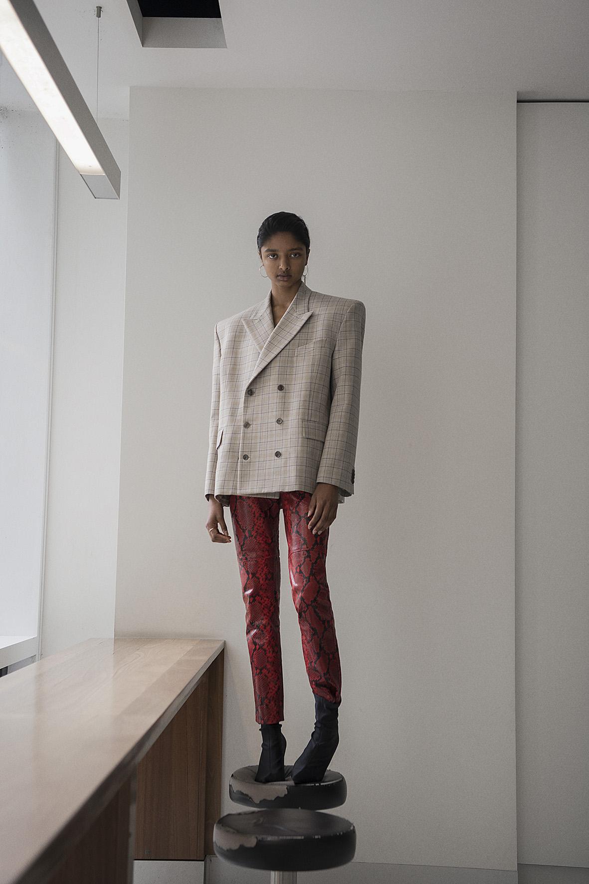 blazor + shoes  balenciaga  pants  h&m studio   earrings  justine clenquet