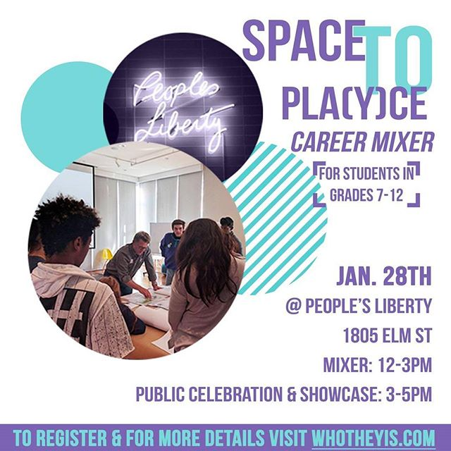 """How many """"Theys"""" does it take to build a park?  One more week until the Space to Play(y)ce Career Mixer, Showcase, and Celebration! Join us at People's Liberty for a day full of fun activities and learning about careers that help create places like schools, parks, houses, and your favorite places to visit. All youth and built environment professionals welcome. Walk-ins welcome, too!  Mixer: 12-3 Showcase: 3-5 More Details:  http://eepurl.com/cw-h5j Event Registration: spacetoplaycemixer.eventbrite.com"""