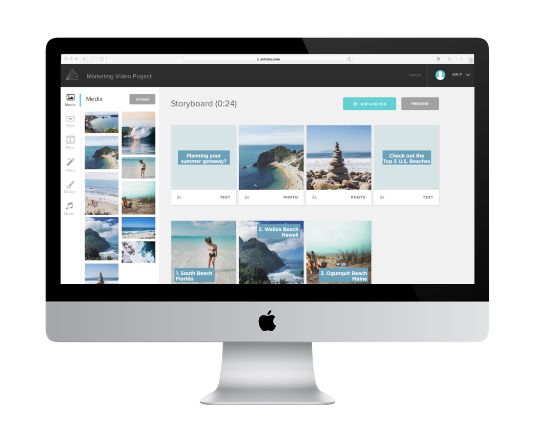 Animoto's web app: workspace of the user's video project