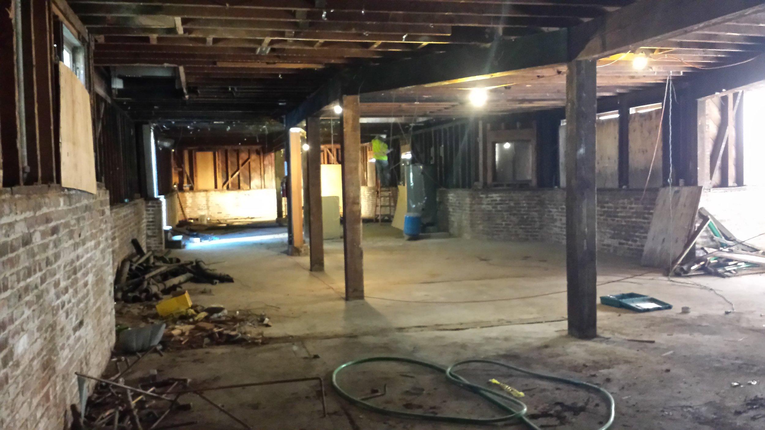 Rectory ground floor renovation in progress.
