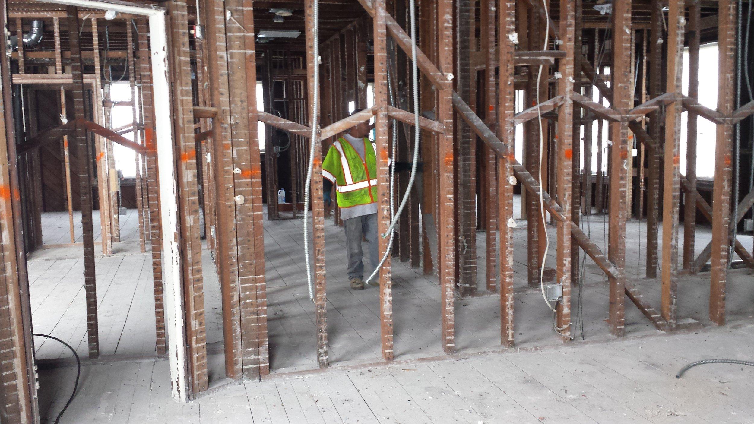 Rectory top floor renovation in progress.