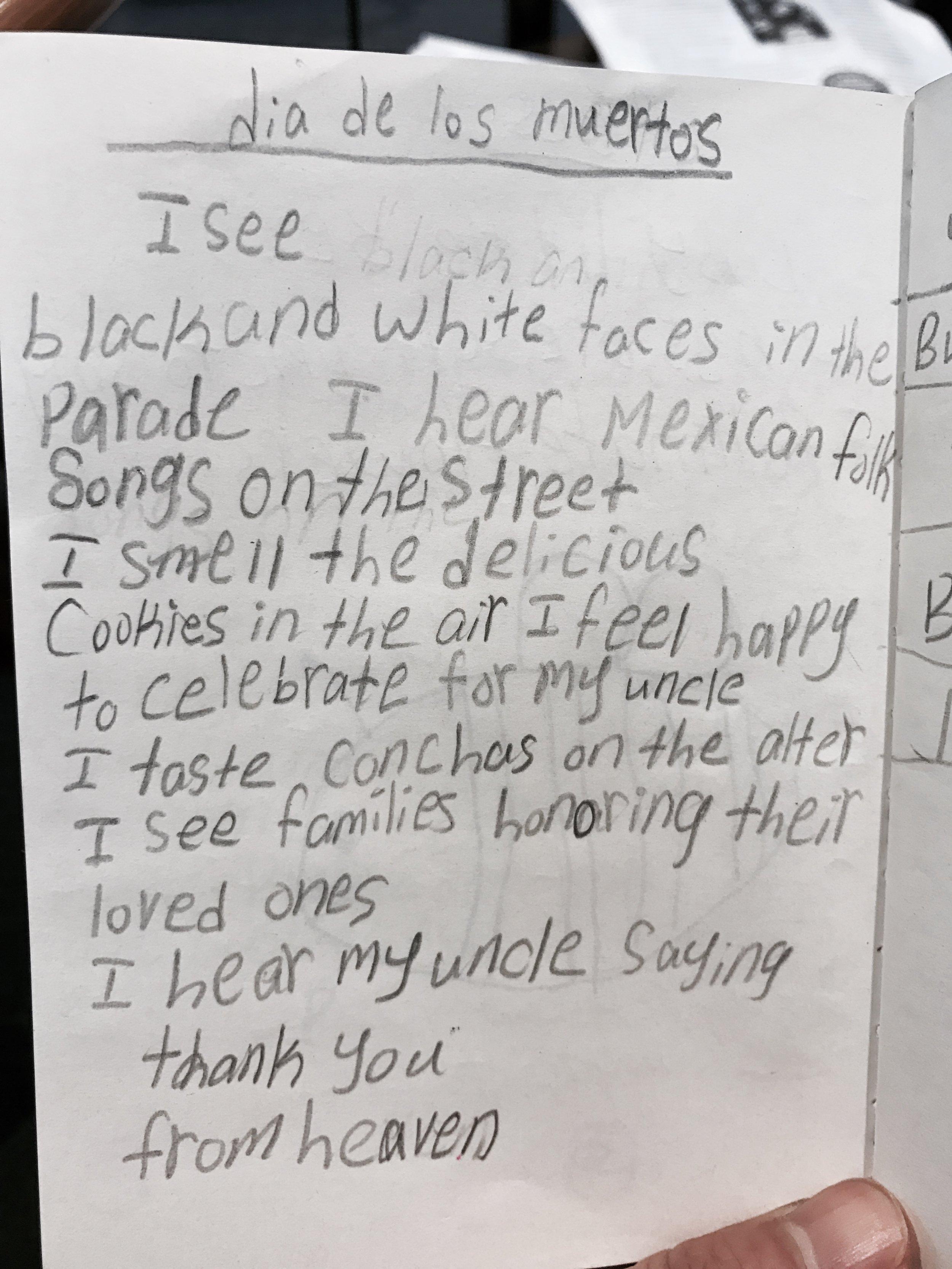 A sensory poem by a Third Grader
