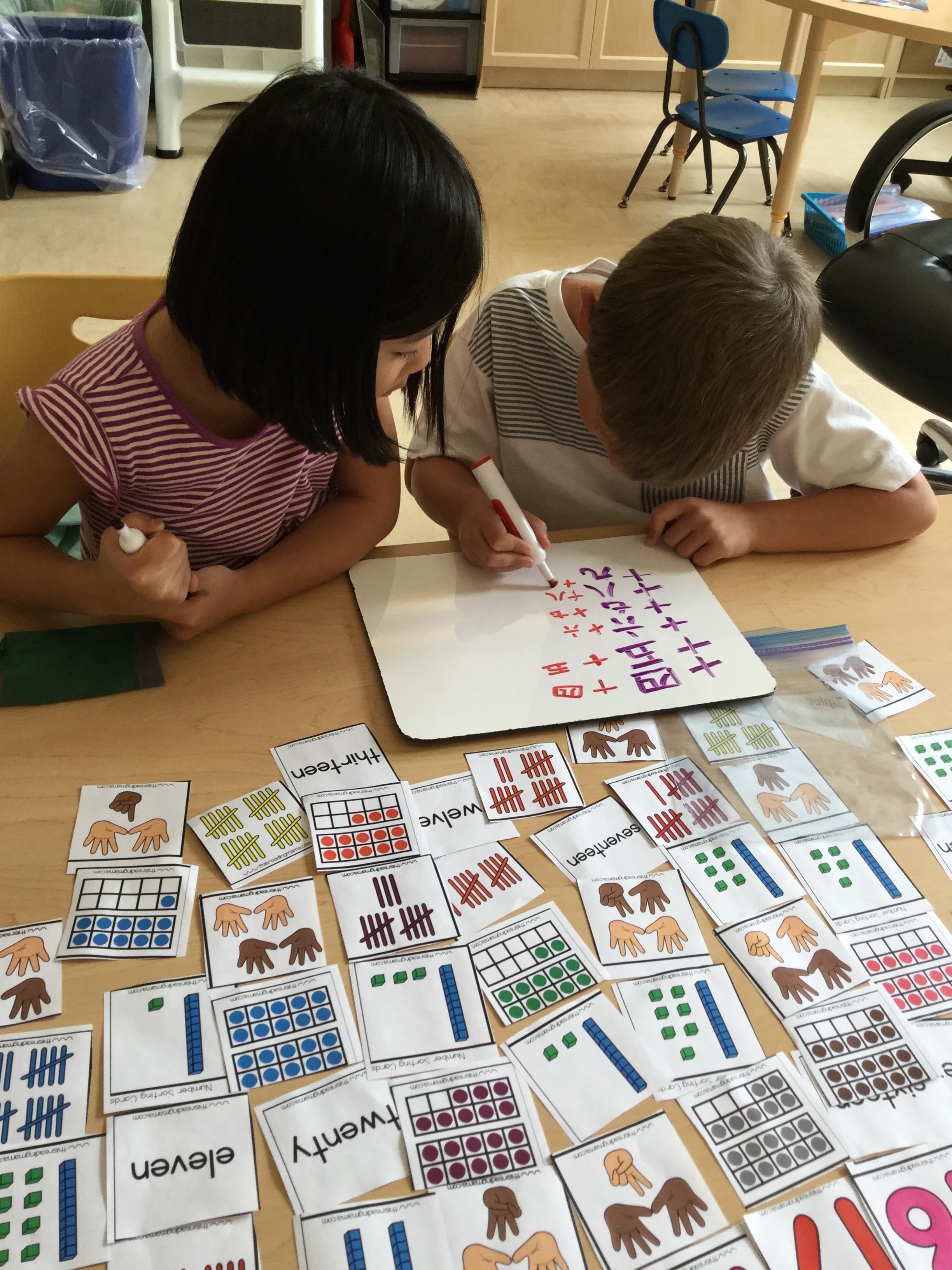 First graders hard at work.