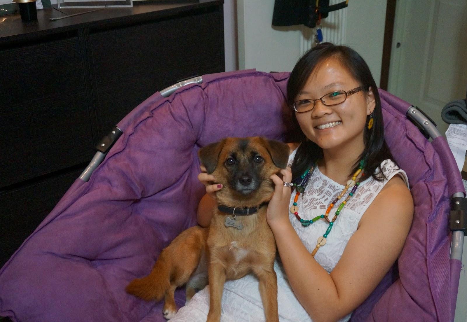Ophelia and her bilingual dog, Coco
