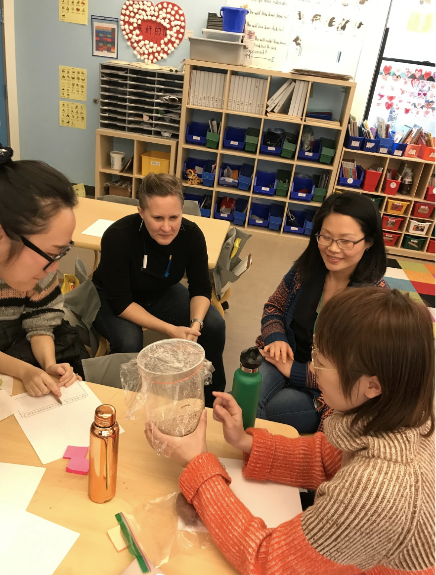 """Allie Chen and the first grade team lead a discussion on inquiry-based science education. Here they illustrate the """"tuning in"""" step, the first step of the inquiry cycle. The group is studying a habitat and trying to figure out what animals would live in it."""