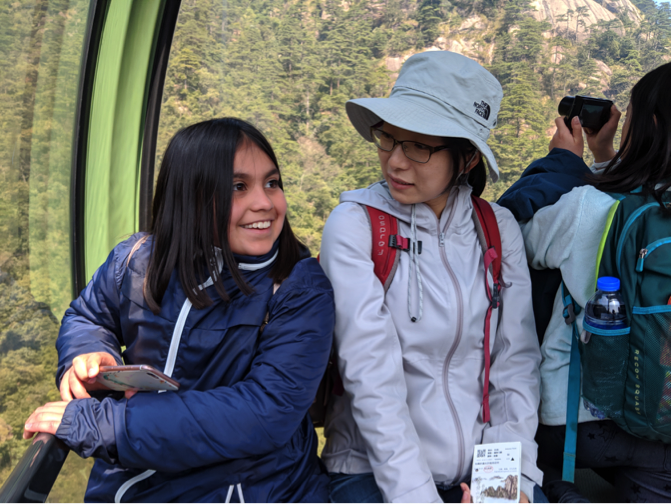 Ma Laoshi and a student on the gondola ride down from the top of the mountain.