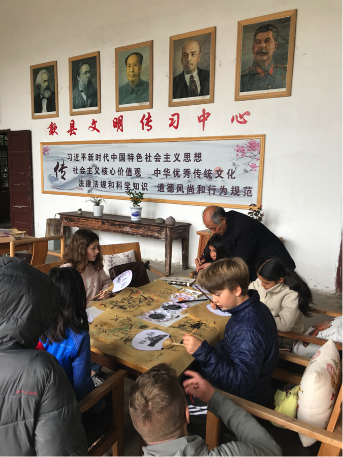 Calligraphy class with Wu Laoshi, a local artist.
