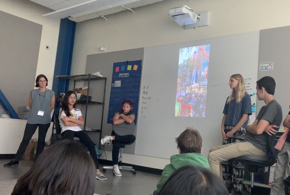 Students sharing their climate strike experiences and leading a conversation about how to make PKS more green.