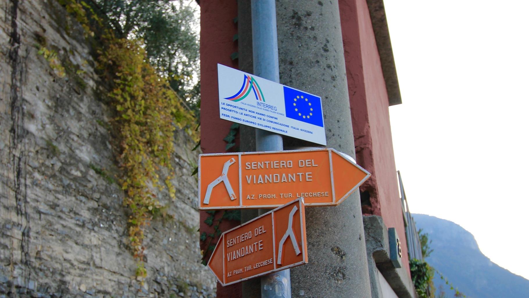 Sentiero del Viandante Sign Posts Lake Como