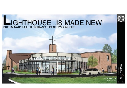This is a preliminary sketch of a  FUTURE PHASE  new entrance/lobby on the south side of our facility. Additional improvements in this phase will include updating the Worship Center, adding new offices upstairs and adding an elevator.